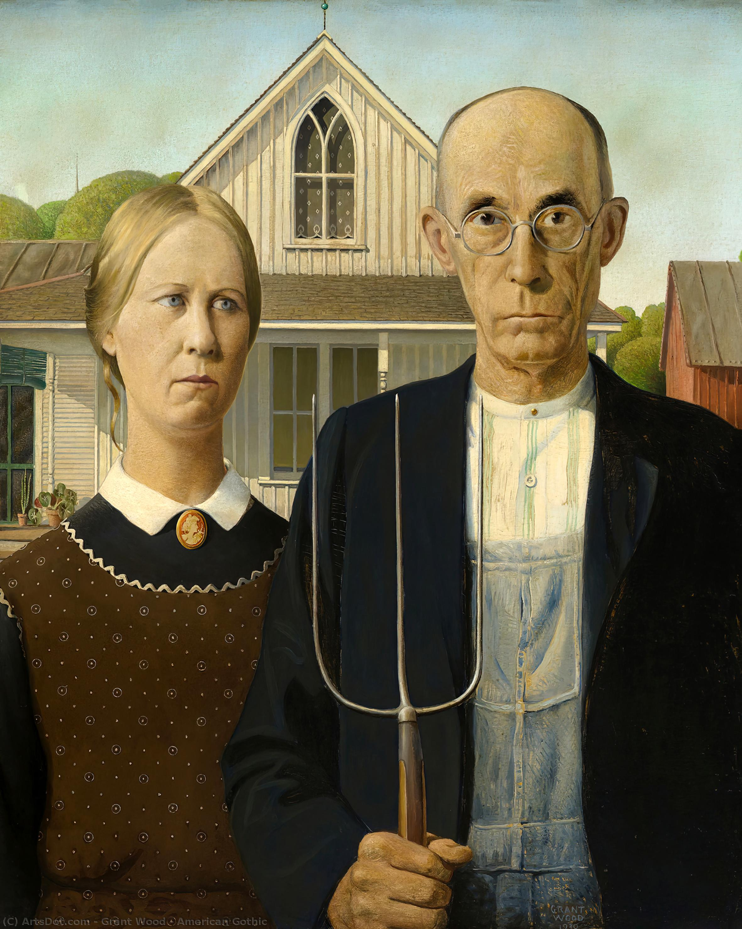 American Gothic, 1930 by Grant Wood (1891-1942, United States) | Painting Copy | ArtsDot.com