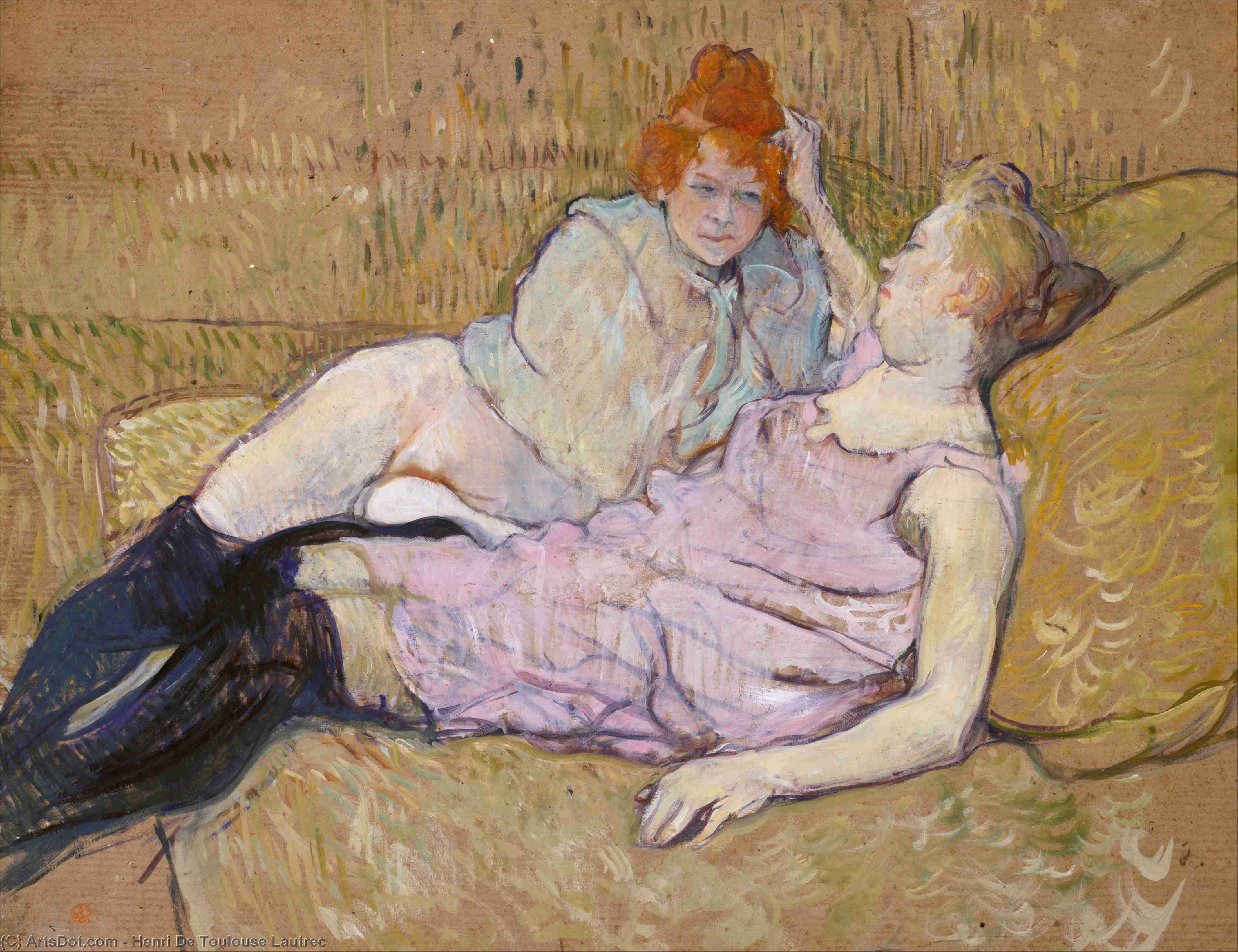 The Sofa, Oil by Henri De Toulouse Lautrec (1864-1901, France)
