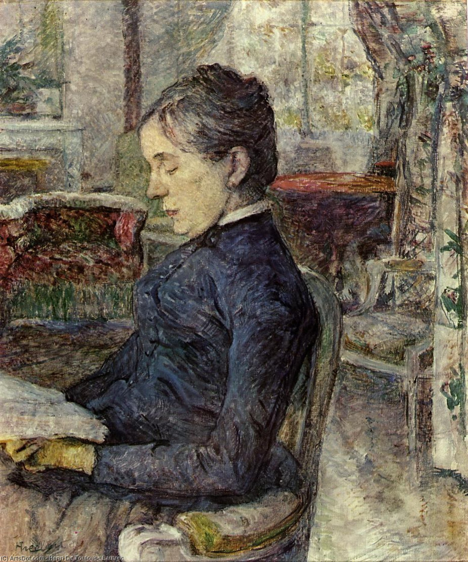 Comtesse, Oil On Canvas by Henri De Toulouse Lautrec (1864-1901, France)