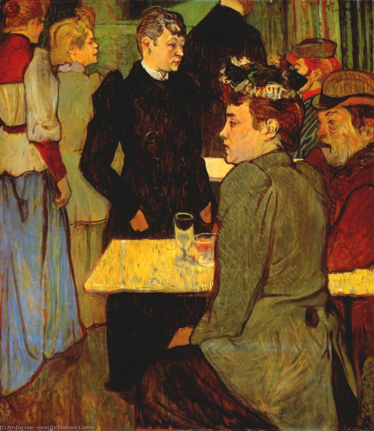 Corner in the Moulin de la Galette, Oil by Henri De Toulouse Lautrec (1864-1901, France)