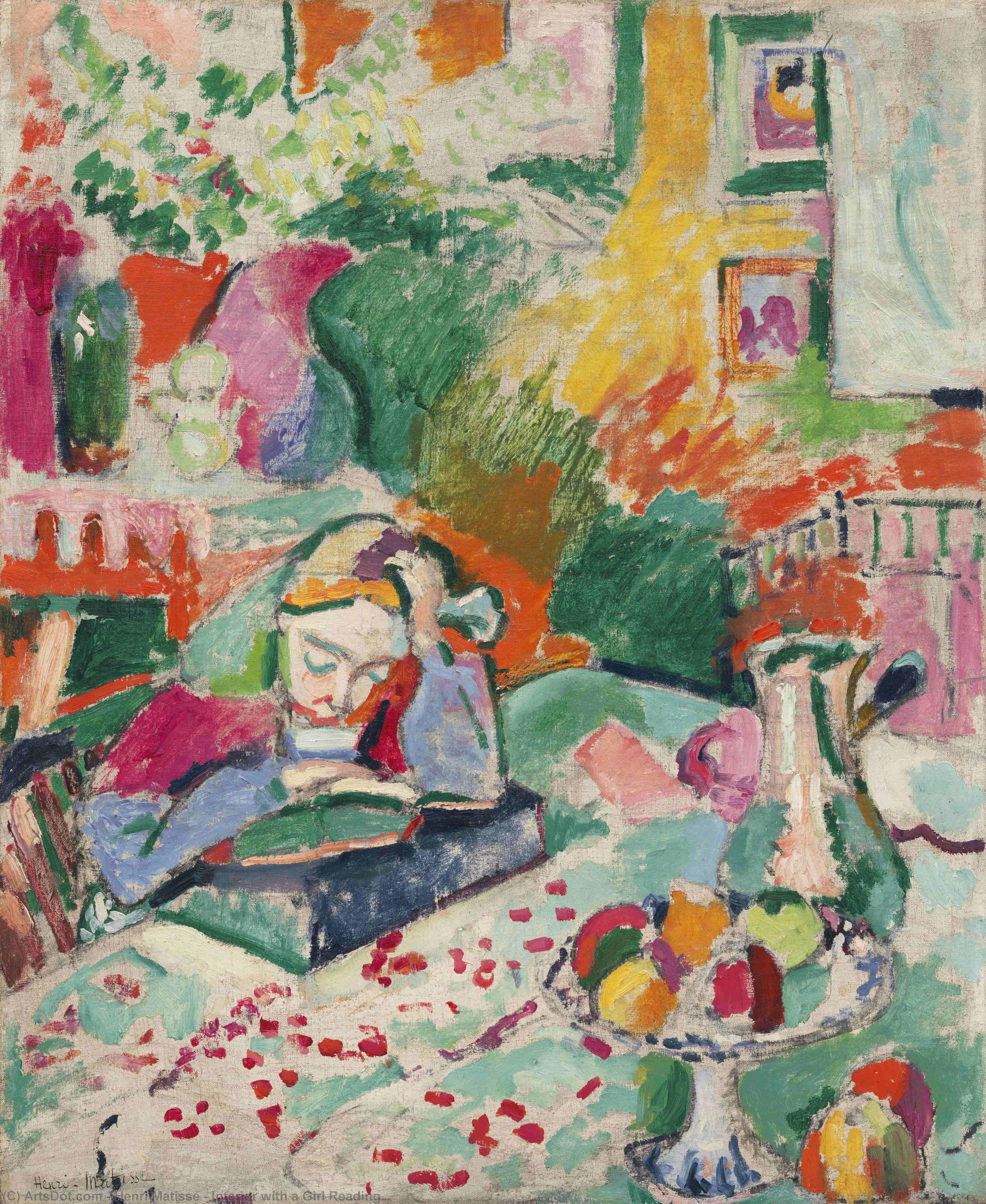 Interior with a Girl Reading, 1905 by Henri Matisse (1869-1954, France) |  | ArtsDot.com