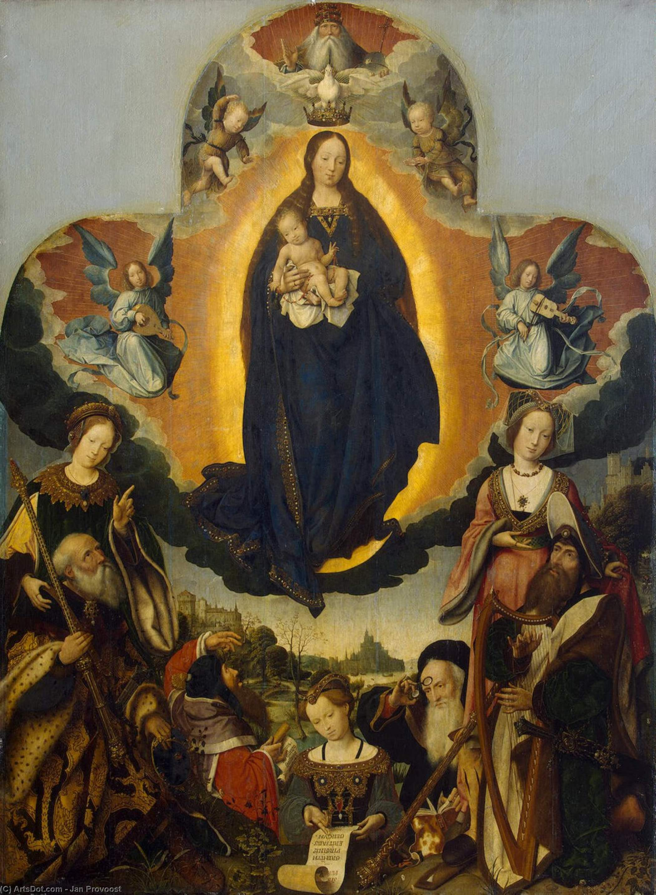 The Virgin Mary in Glory, Oil On Canvas by Jan Provoost (1462-1529, Belgium)