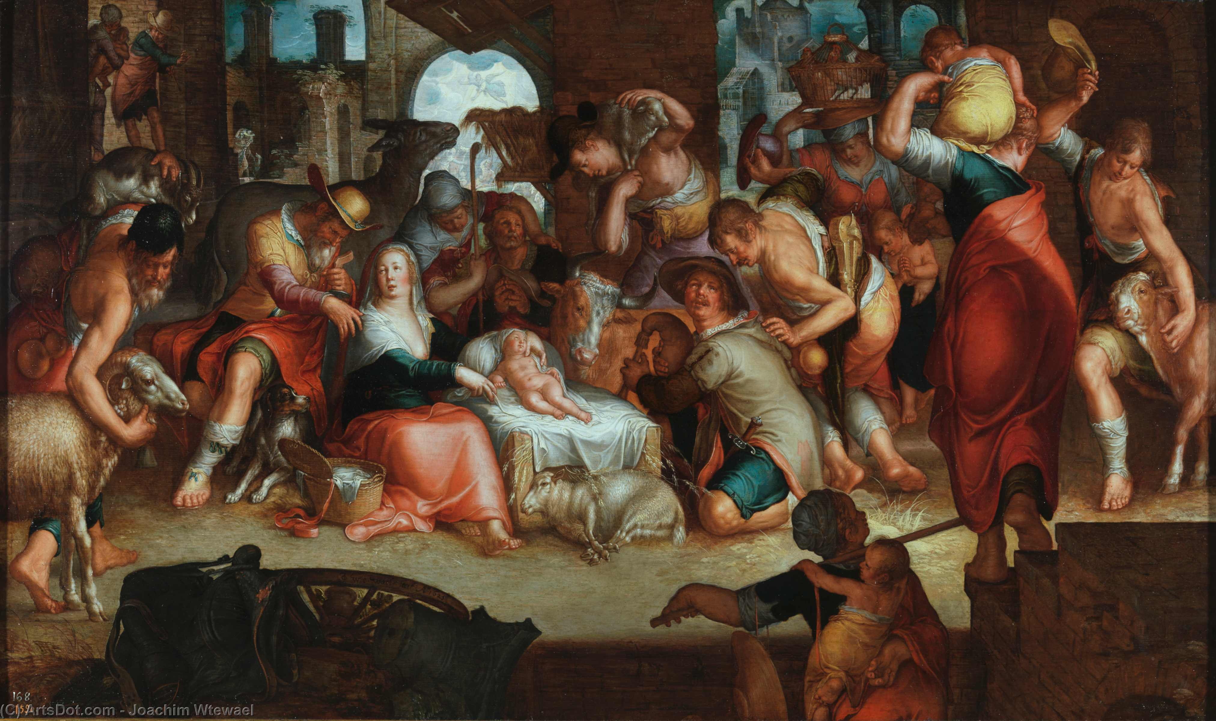 Adoration by the Shepherds, Oil On Panel by Joachim Wtewael (1566-1638, Netherlands)
