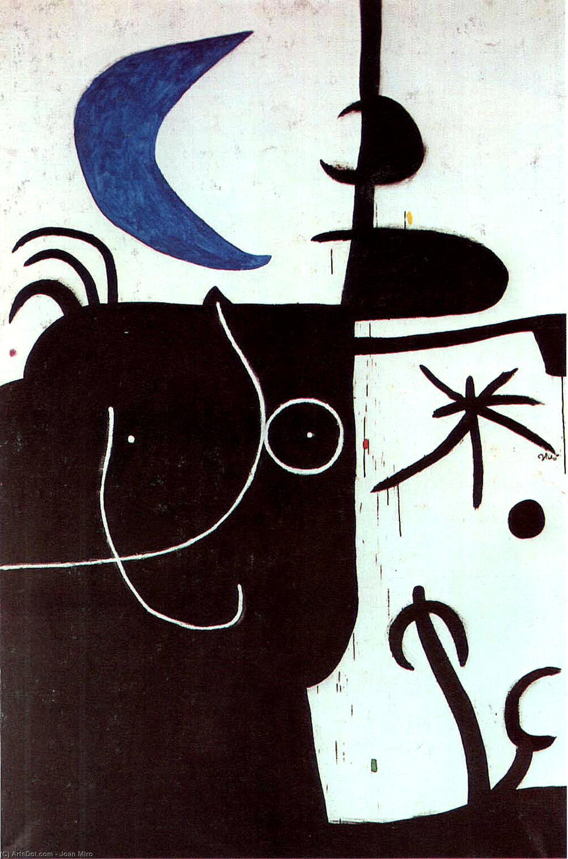 Woman before the luna, 1974 by Joan Miro (1893-1937, Spain)
