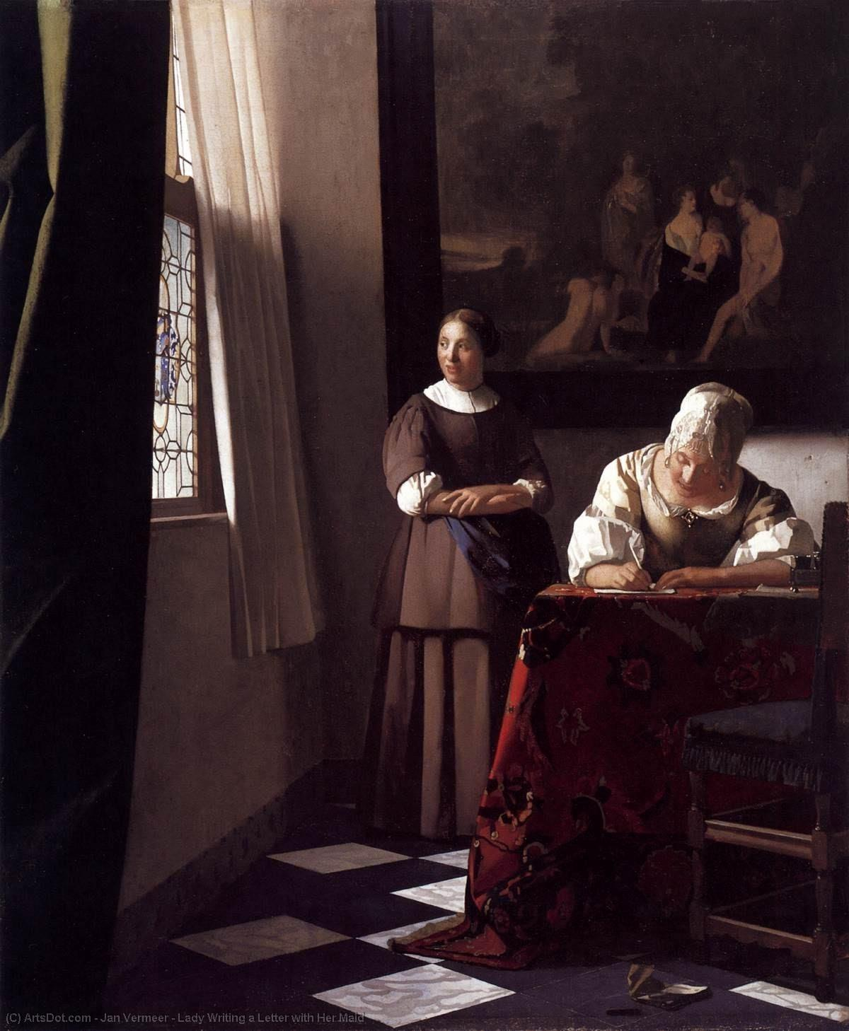 Lady Writing a Letter with Her Maid, 1670 by Jan Vermeer (1632-1675, Netherlands) | Reproductions Jan Vermeer | ArtsDot.com