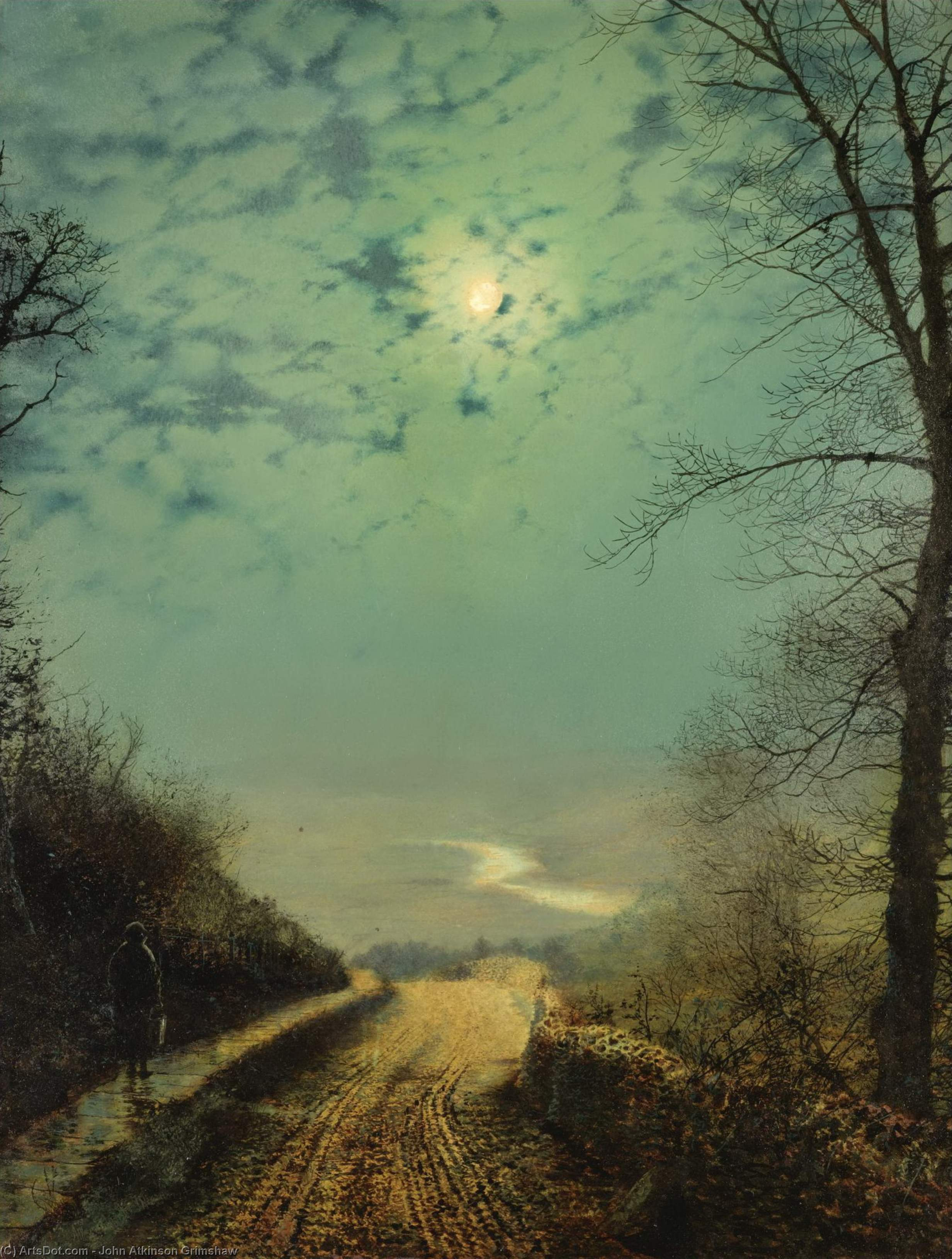 A Wet Road By Moonlight, Wharfedale, Oil by John Atkinson Grimshaw (1836-1893, United Kingdom)