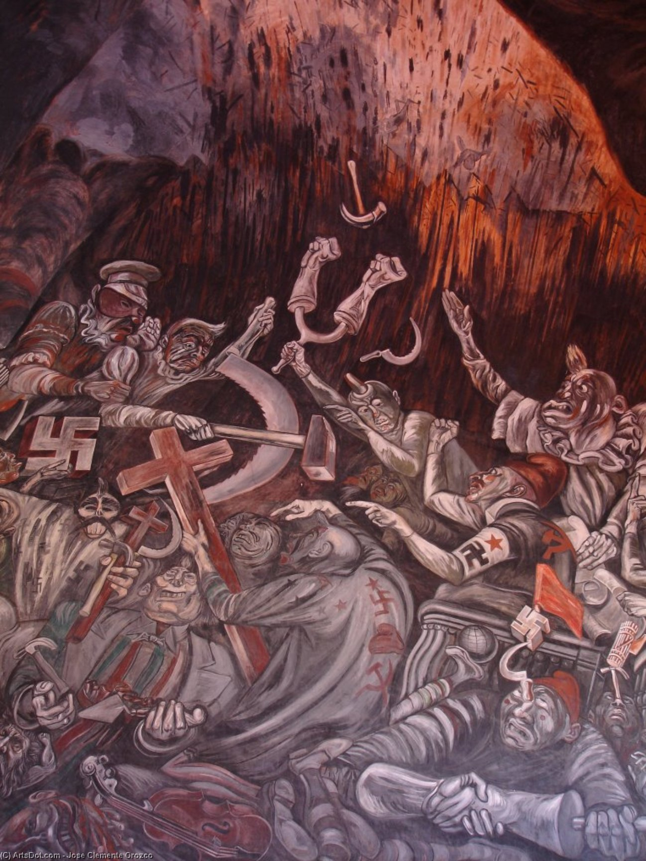The Clowns of War Arguing in Hell, 1944 by Jose Clemente Orozco (1883-1949, Mexico) | Painting Copy | ArtsDot.com