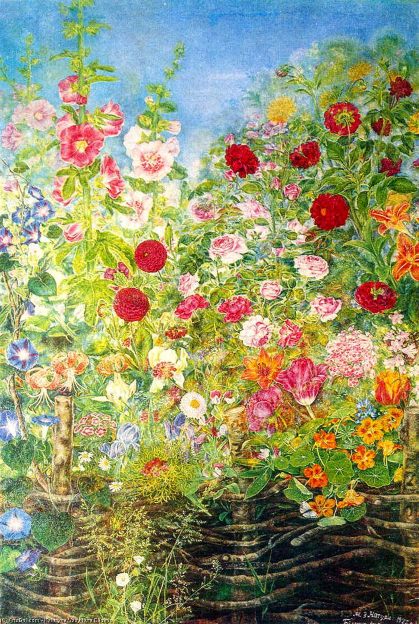 Flowers by the fence, 1935 by Kateryna Vasylivna Bilokur (1900-1961, Ukraine)