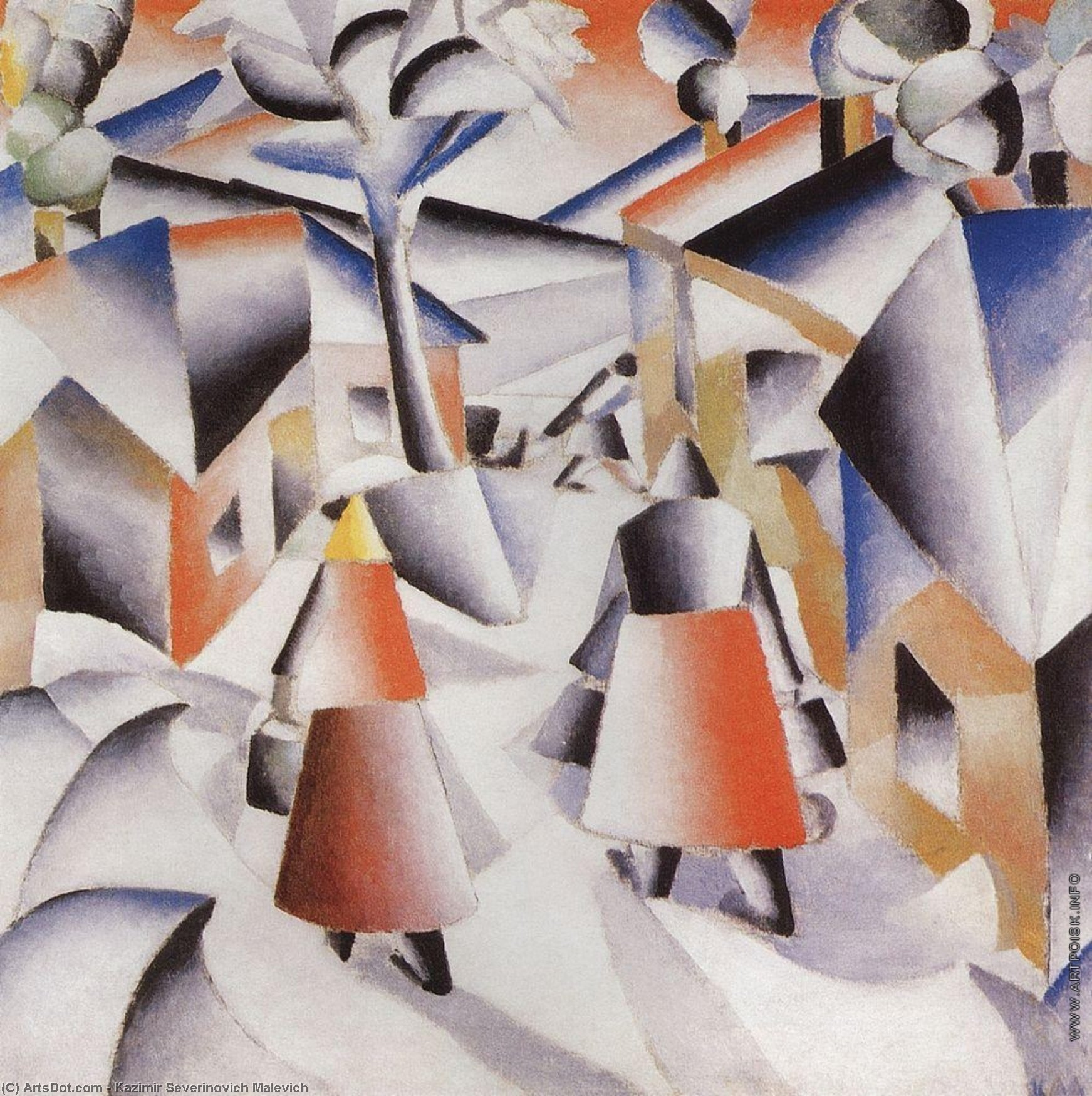Morning in the Village after Snowstorm, 1913 by Kazimir Severinovich Malevich (1879-1935, Ukraine) | Museum Quality Reproductions | ArtsDot.com