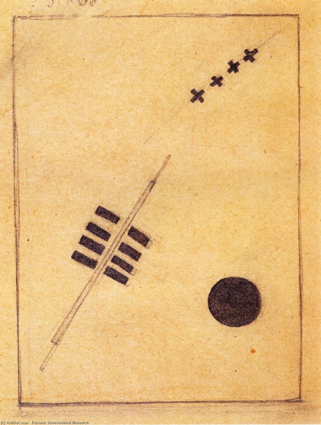 Cosmos, Pencil by Kazimir Severinovich Malevich (1878-1935, Ukraine)