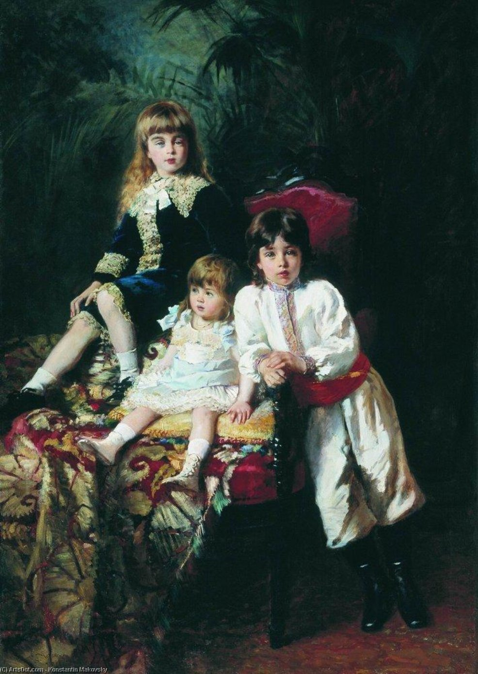 Mr. Balashov's Children, Oil On Canvas by Konstantin Yegorovich Makovsky (1839-1915, Russia)