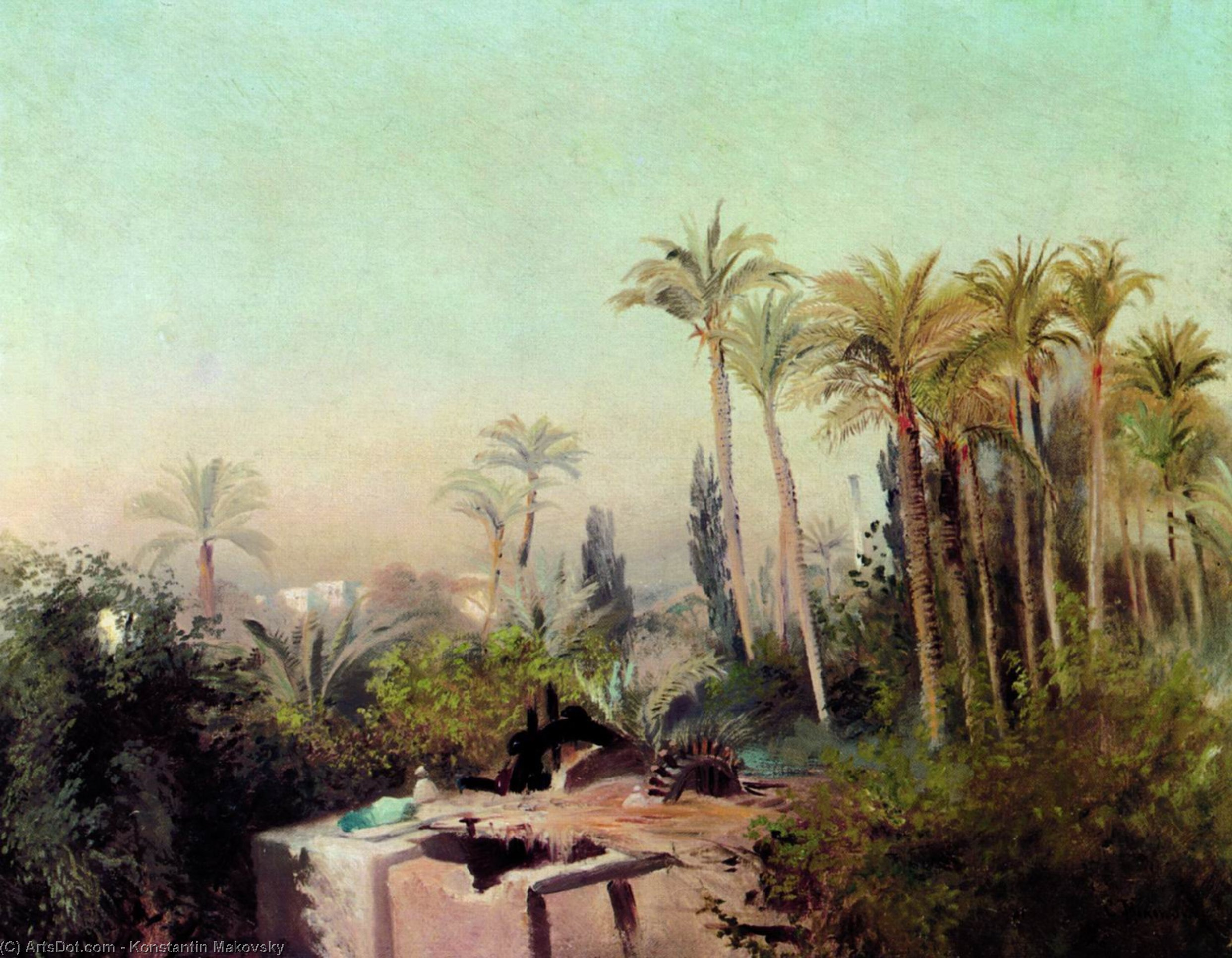 Irrigation in Egypt, 1870 by Konstantin Yegorovich Makovsky (1839-1915, Russia)