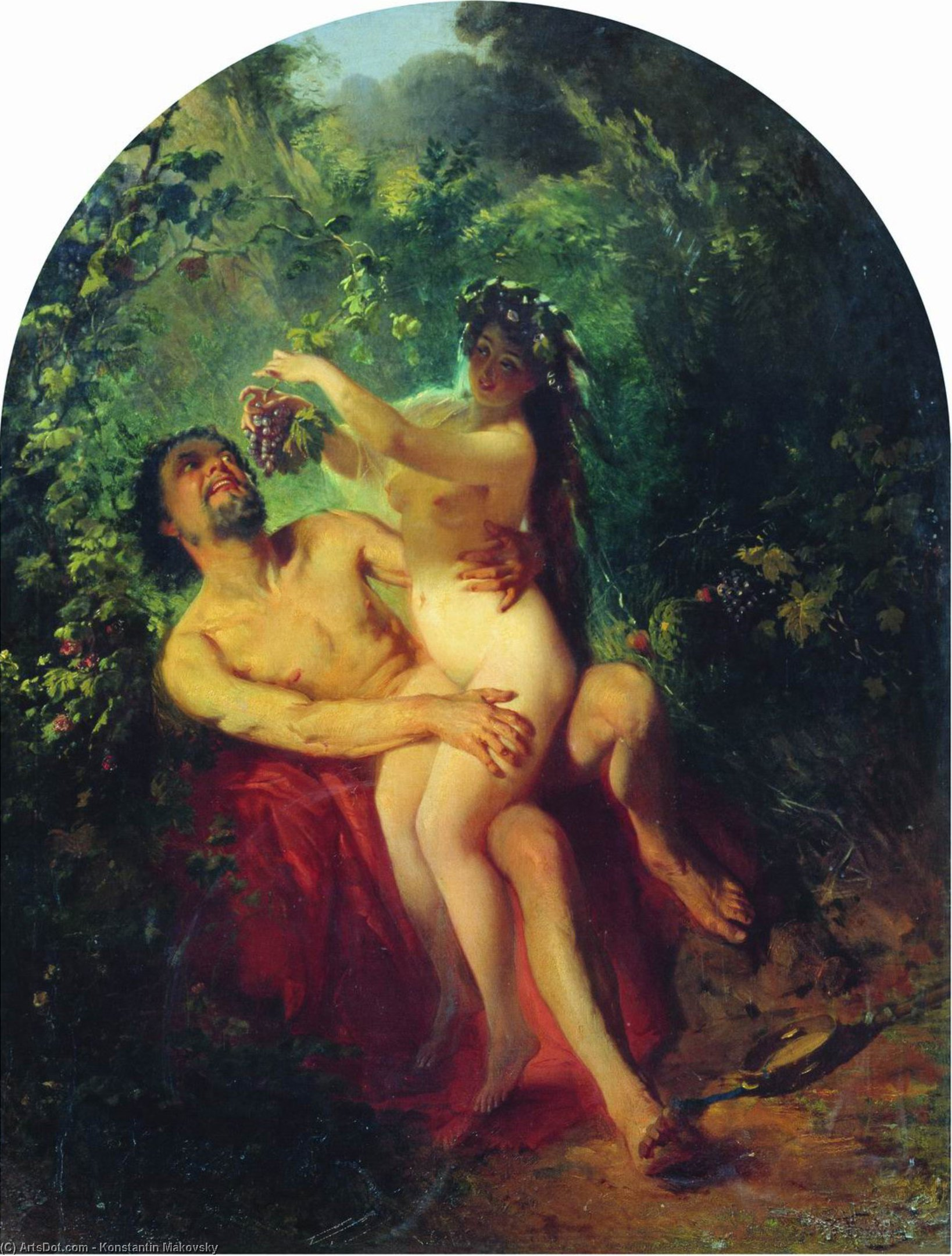 Satyr and Nymph, 1863 by Konstantin Yegorovich Makovsky (1839-1915, Russia)