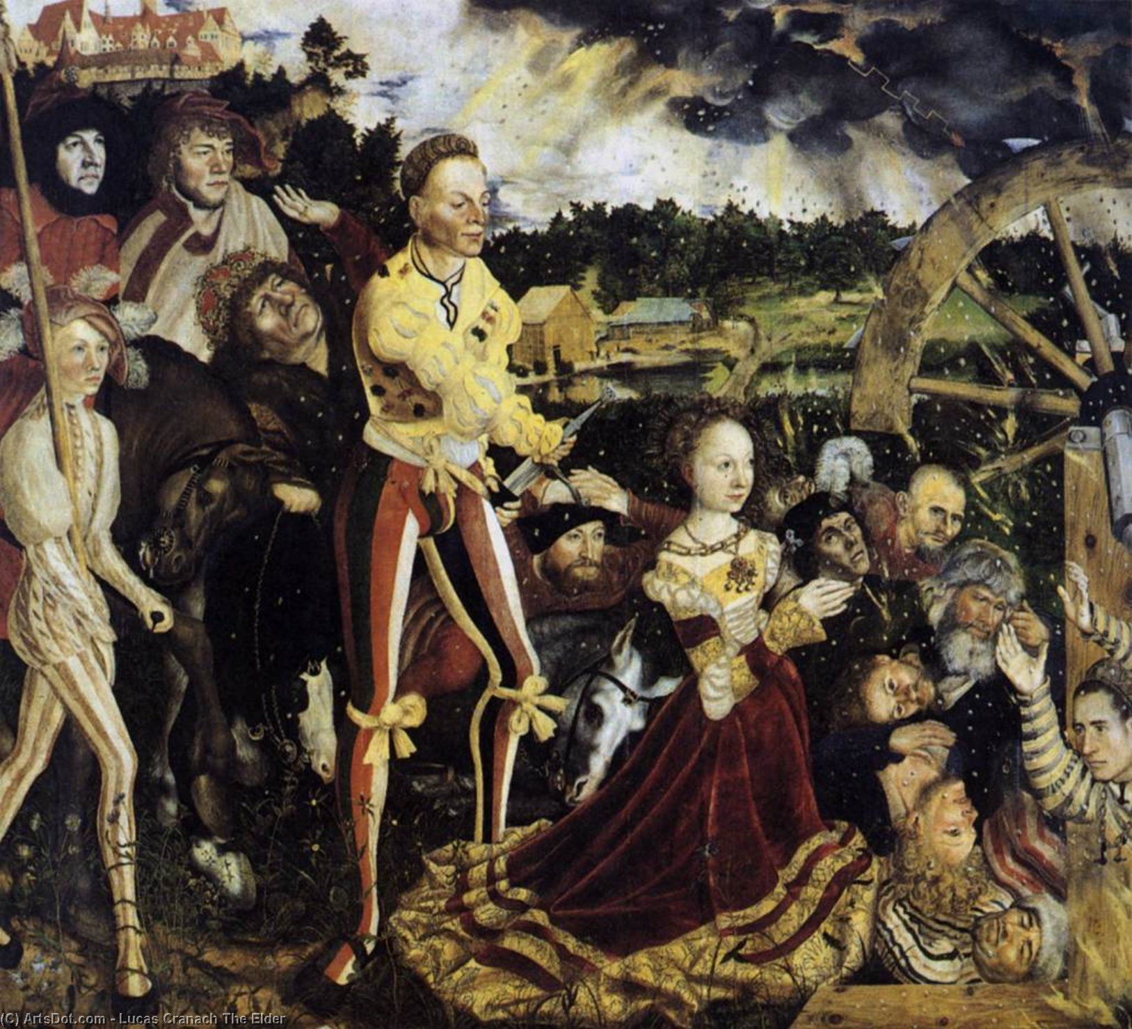 The Martyrdom of St. Catherine, Oil On Panel by Lucas Cranach The Elder (1472-1553, Germany)