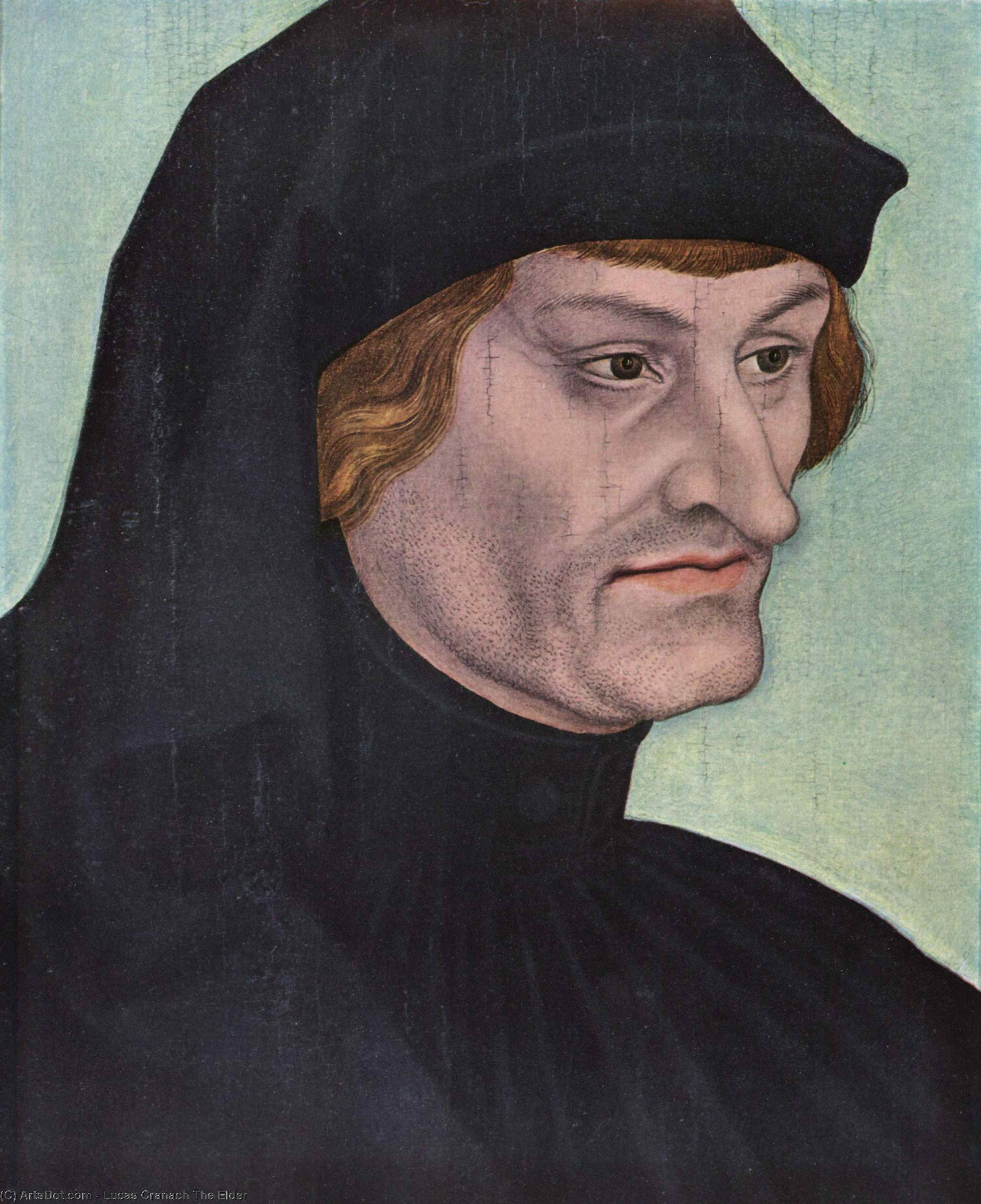 Portrait of Rudolph Agricola, Oil by Lucas Cranach The Elder (1472-1553, Germany)