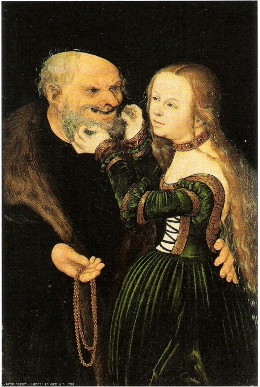 The old man in love, Oil by Lucas Cranach The Elder (1472-1553, Germany)