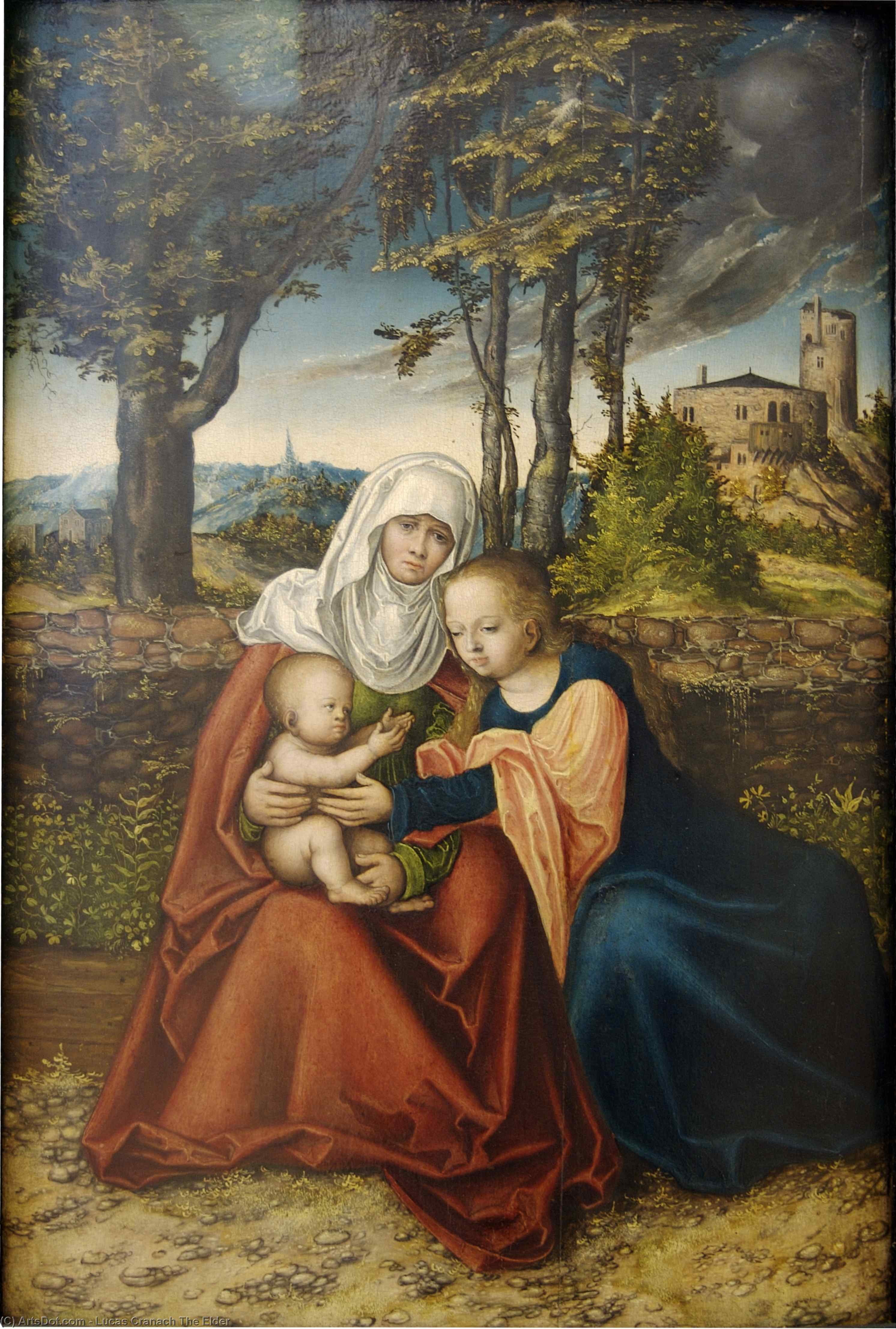 Virgin and Child with St. Anne, Oil by Lucas Cranach The Elder (1472-1553, Germany)