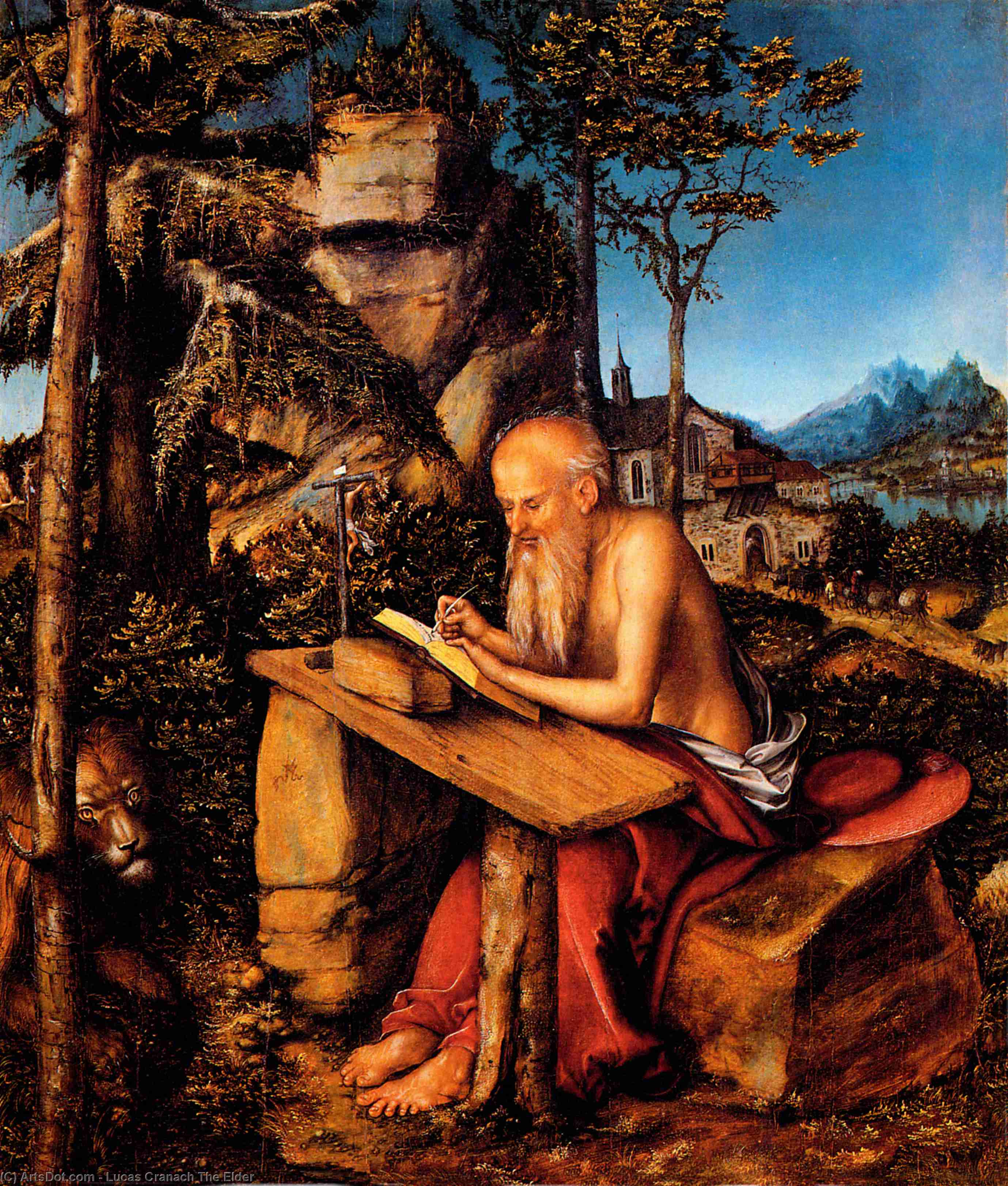 Saint Jerome, Oil On Panel by Lucas Cranach The Elder (1472-1553, Germany)
