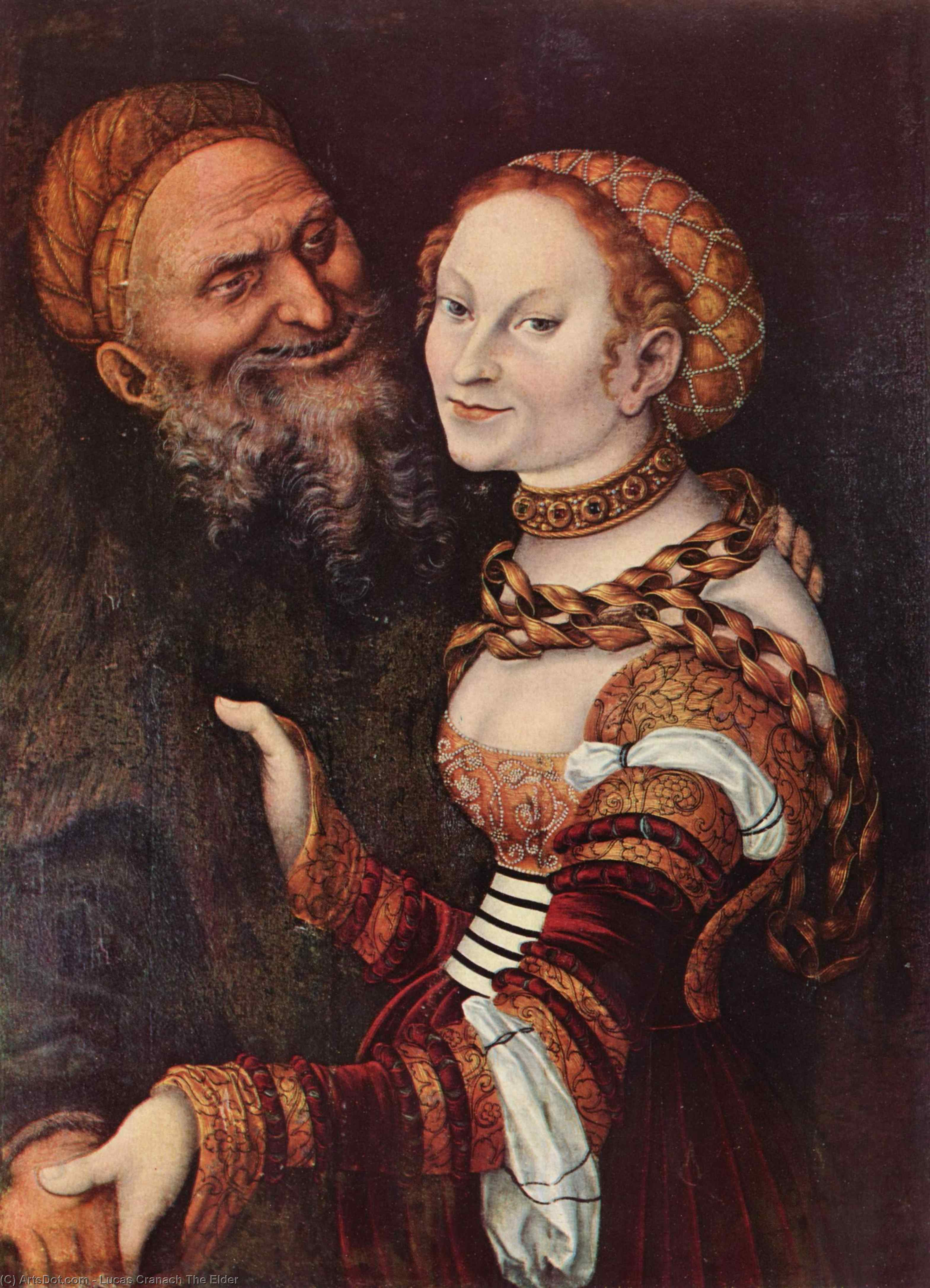 The old man in love, Oil On Panel by Lucas Cranach The Elder (1472-1553, Germany)