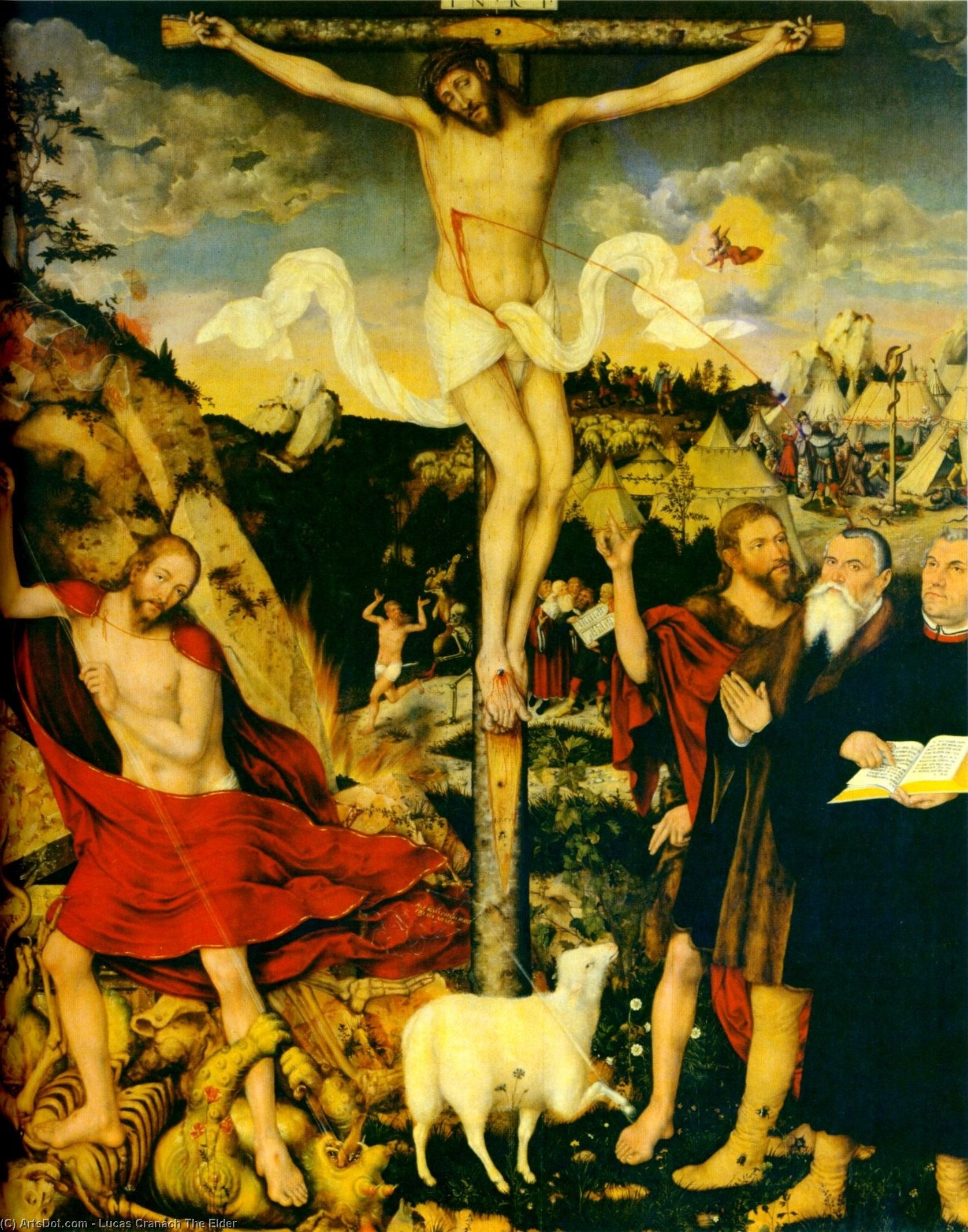 Christ as Savior with Martin Luther, 1552 by Lucas Cranach The Elder (1472-1553, Germany)