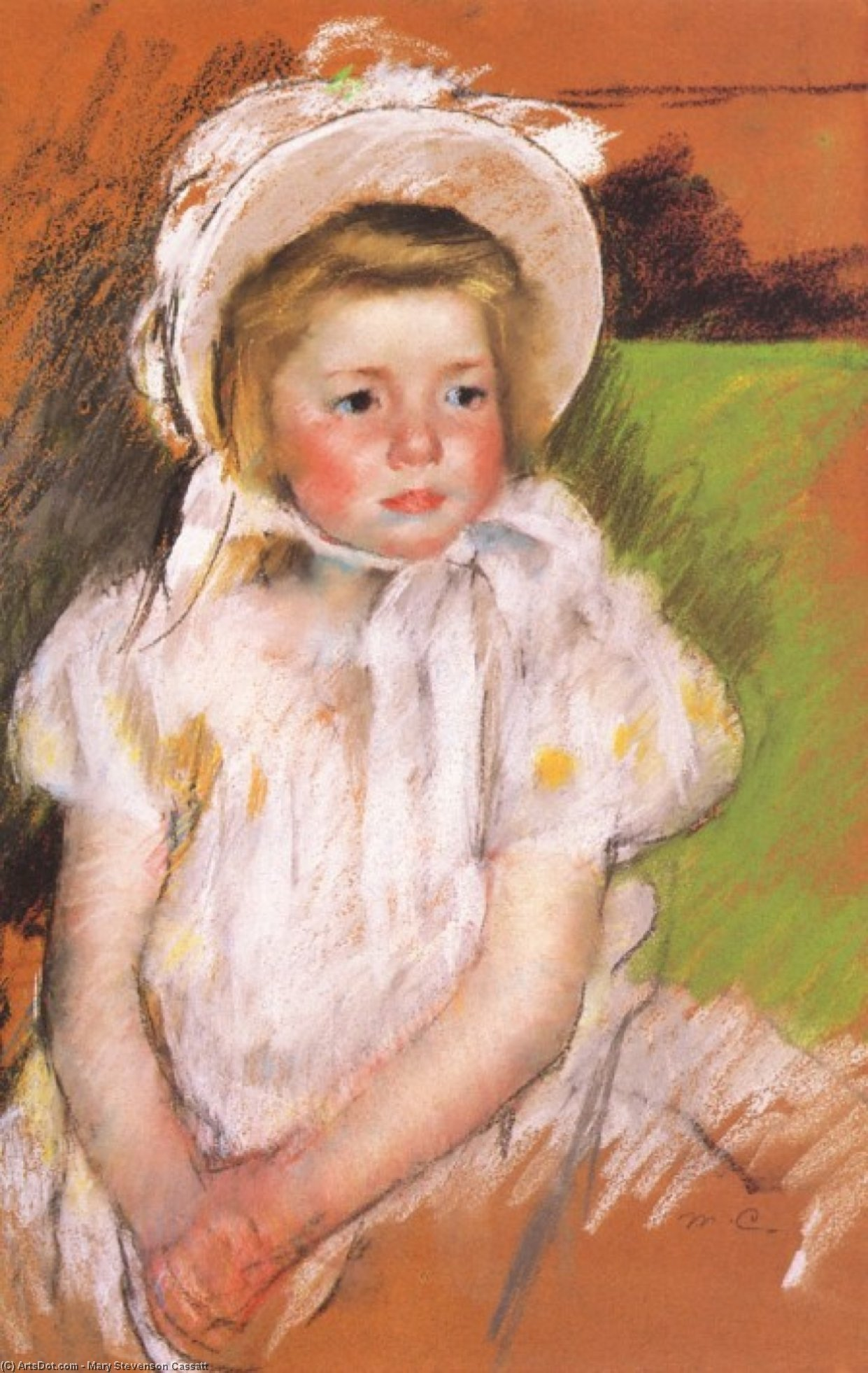 Buy Museum Art Reproductions | Somone in a White Bonnet, 1901 by Mary Stevenson Cassatt (1843-1926, United States) | ArtsDot.com