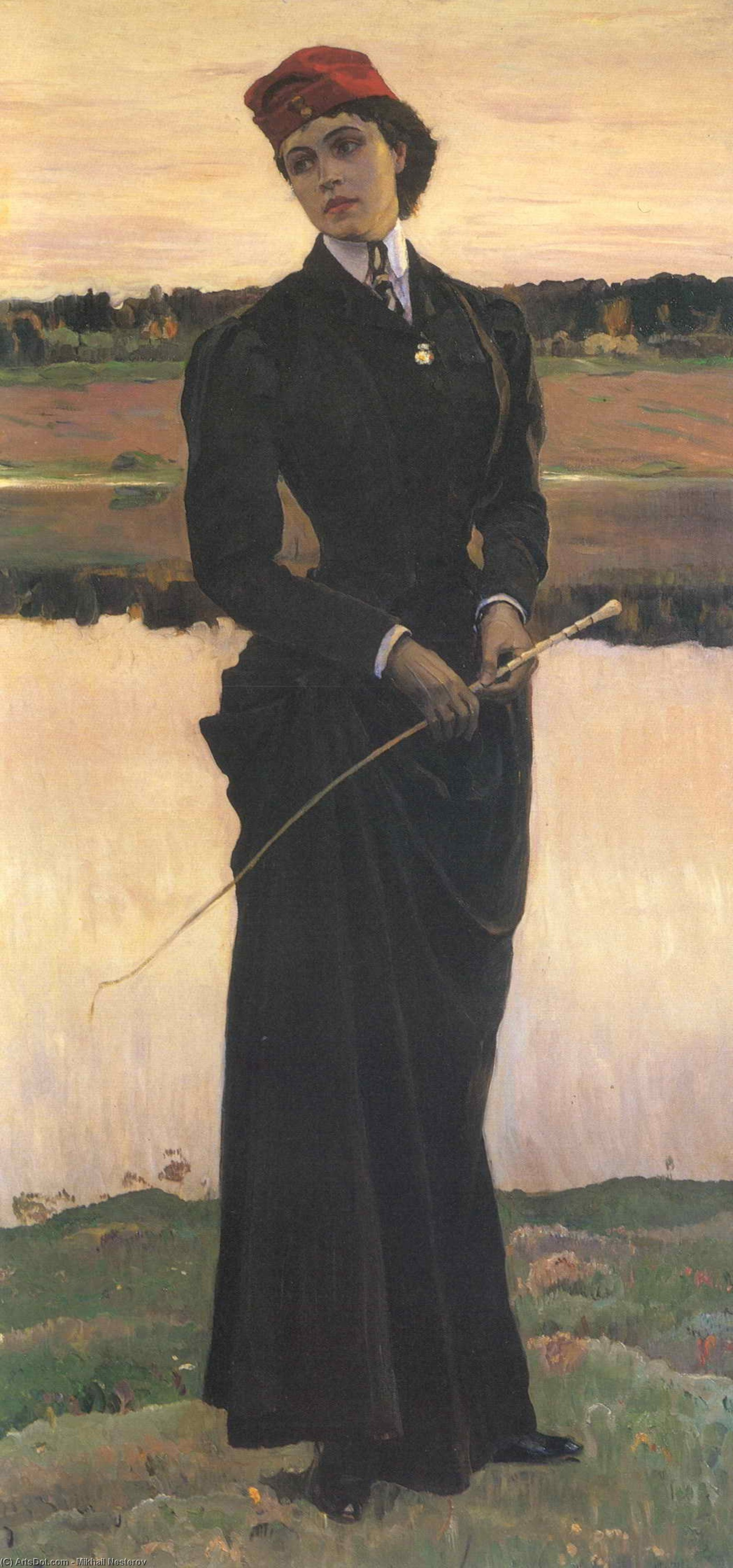 Portrait of Olga Nesterova (Woman in a Riding Habit), Oil On Canvas by Mikhail Nesterov (1862-1942, Russia)