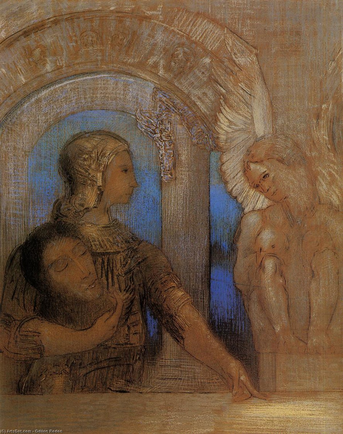 The Mystical Knight (Oedipus and the Sphinx), 1869 by Odilon Redon (1840-1916, France) | Painting Copy | ArtsDot.com