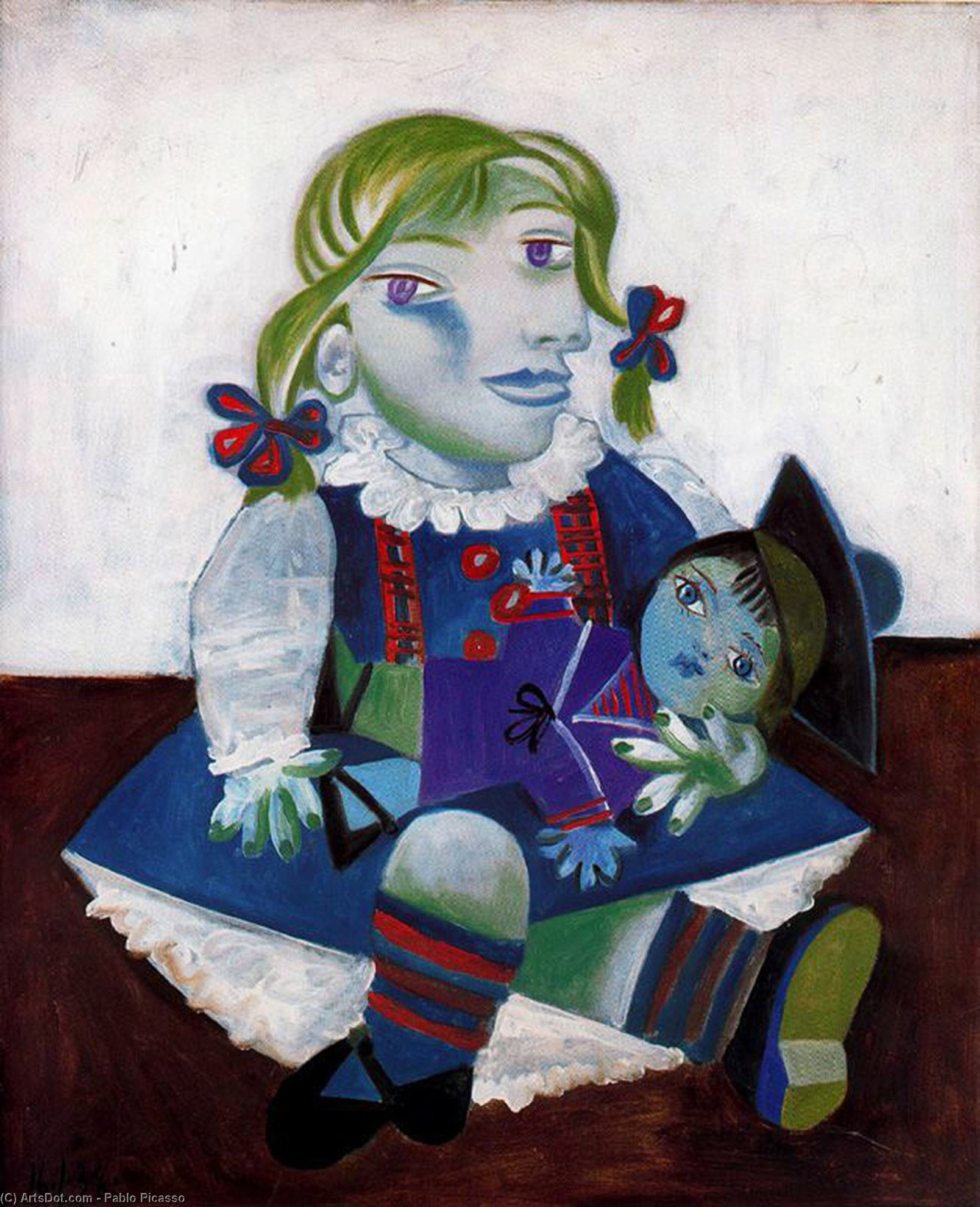 Buy Museum Art Reproductions : Portrait of Maya with her doll, 1938 by Pablo Picasso (1881-1973, Spain) | ArtsDot.com