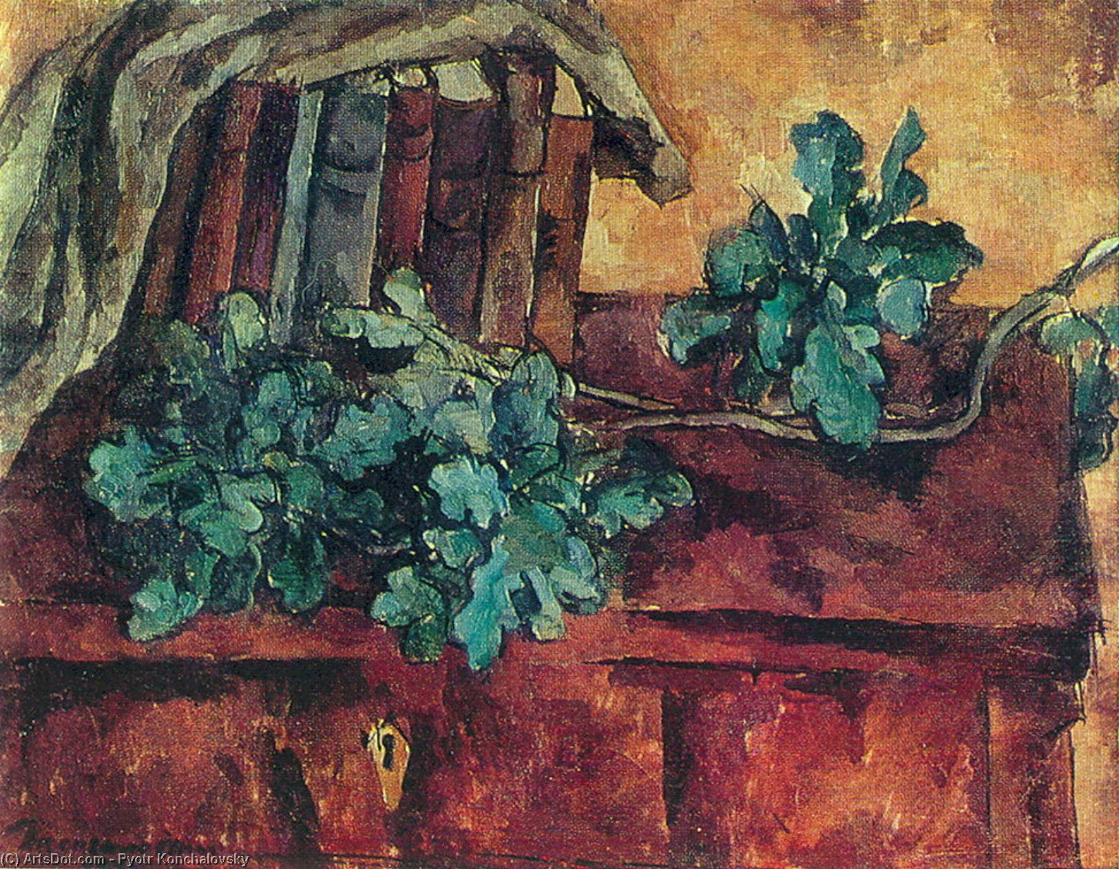 Still Life. Oak branch., 1921 by Pyotr Konchalovsky (1876-1956, Russia)