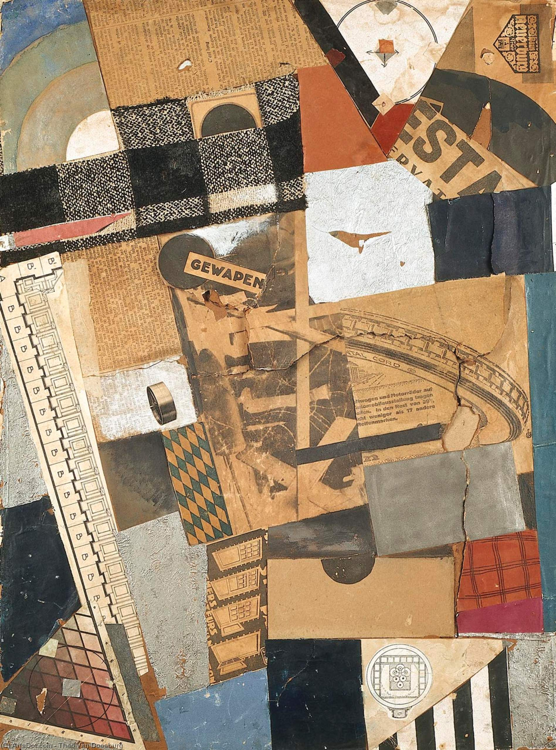 The denaturalized material. Destruction 2., Collage by Theo Van Doesburg (1883-1931, Netherlands)