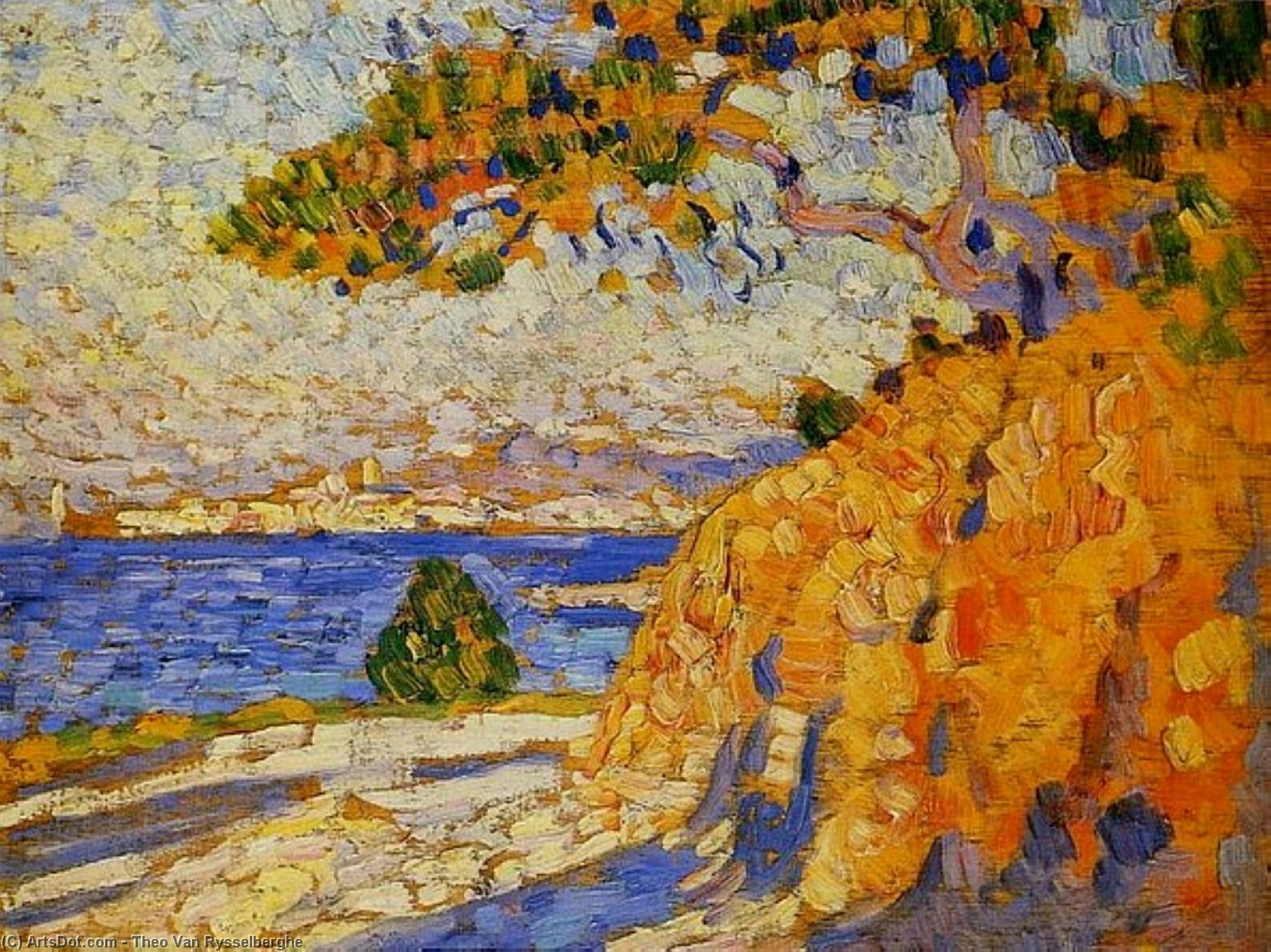 Midi Landscape, Oil On Panel by Theo Van Rysselberghe (1862-1926, Belgium)