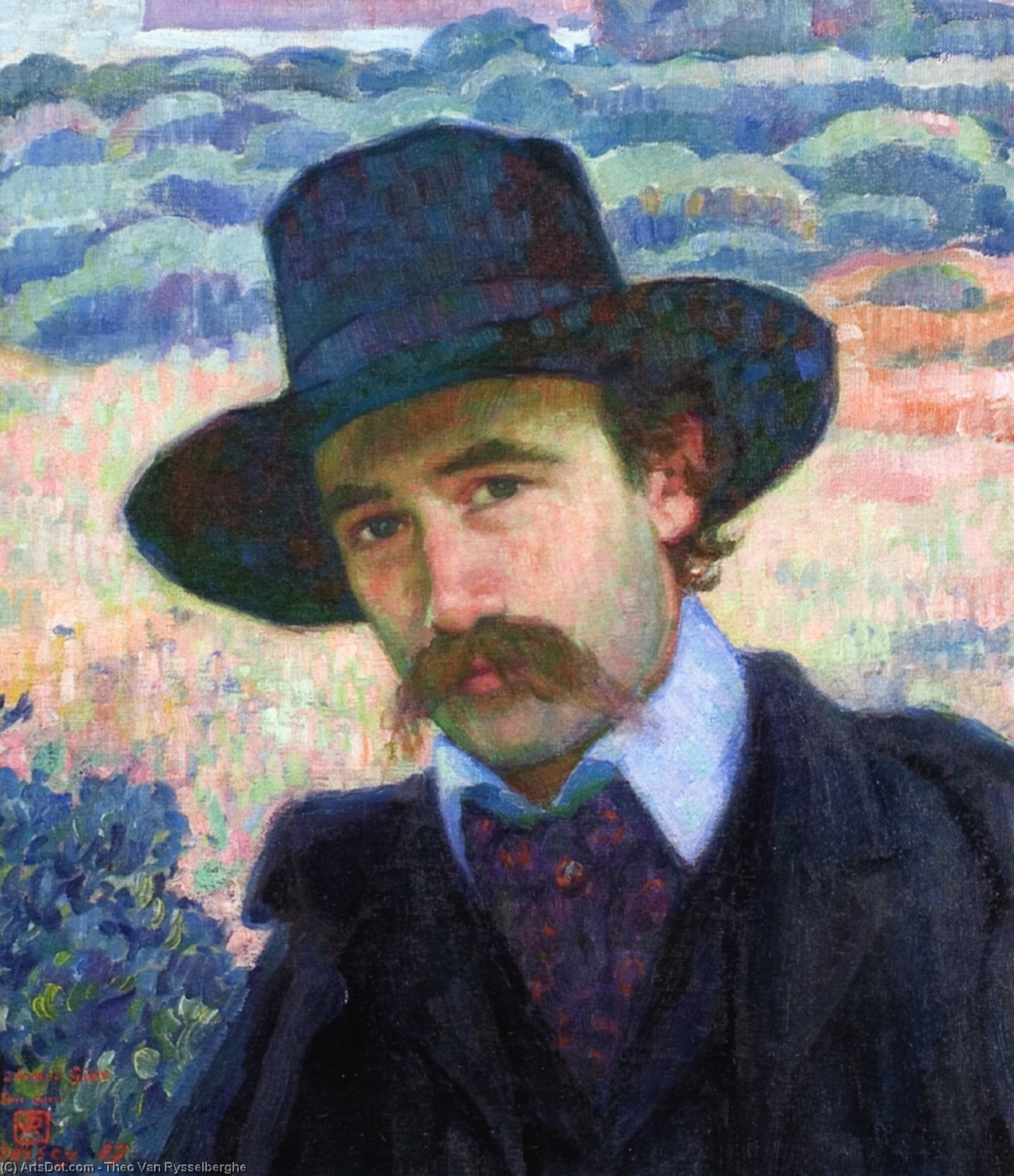Andre Gide at Jersey, Oil On Canvas by Theo Van Rysselberghe (1862-1926, Belgium)