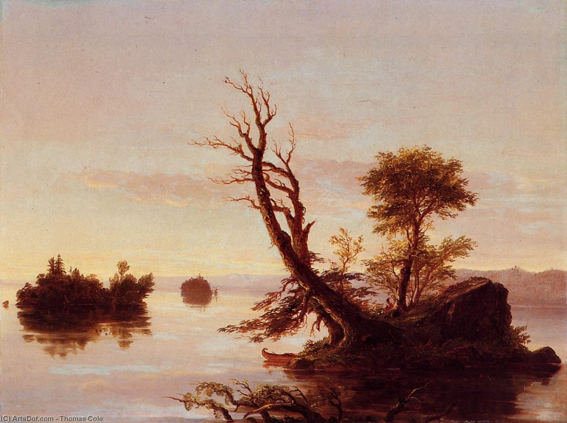 American Lake Scene, Oil On Canvas by Thomas Cole (1801-1848, United Kingdom)