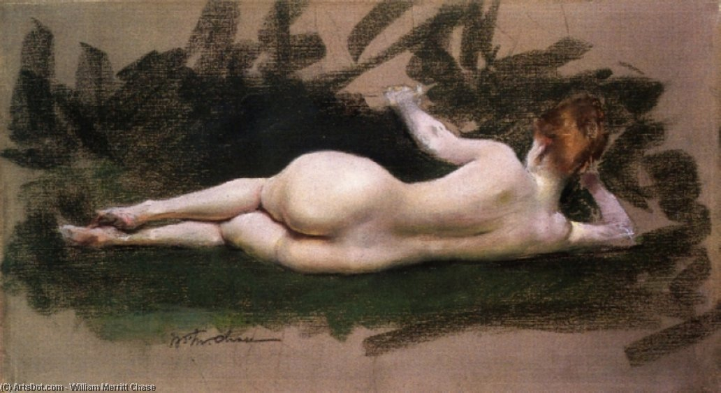 Reclining Nude, Pastel by William Merritt Chase (1849-1916, United States)