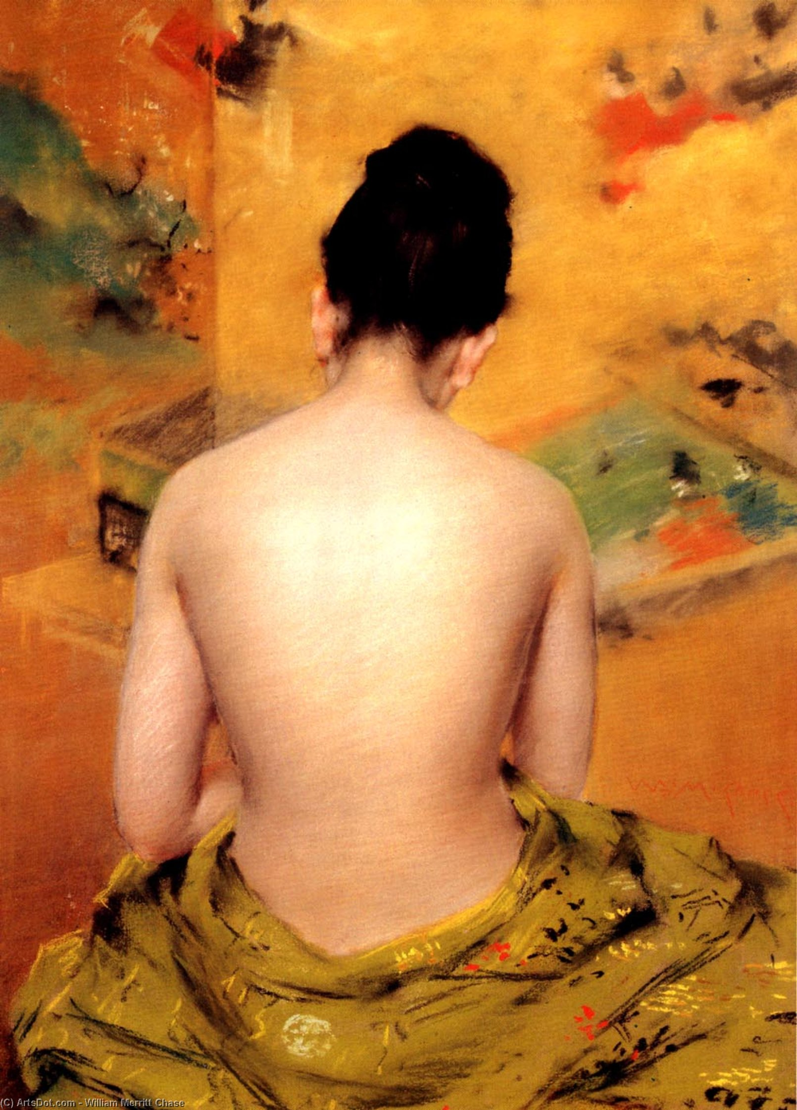 Back Of A Nude, Oil On Canvas by William Merritt Chase (1849-1916, United States)