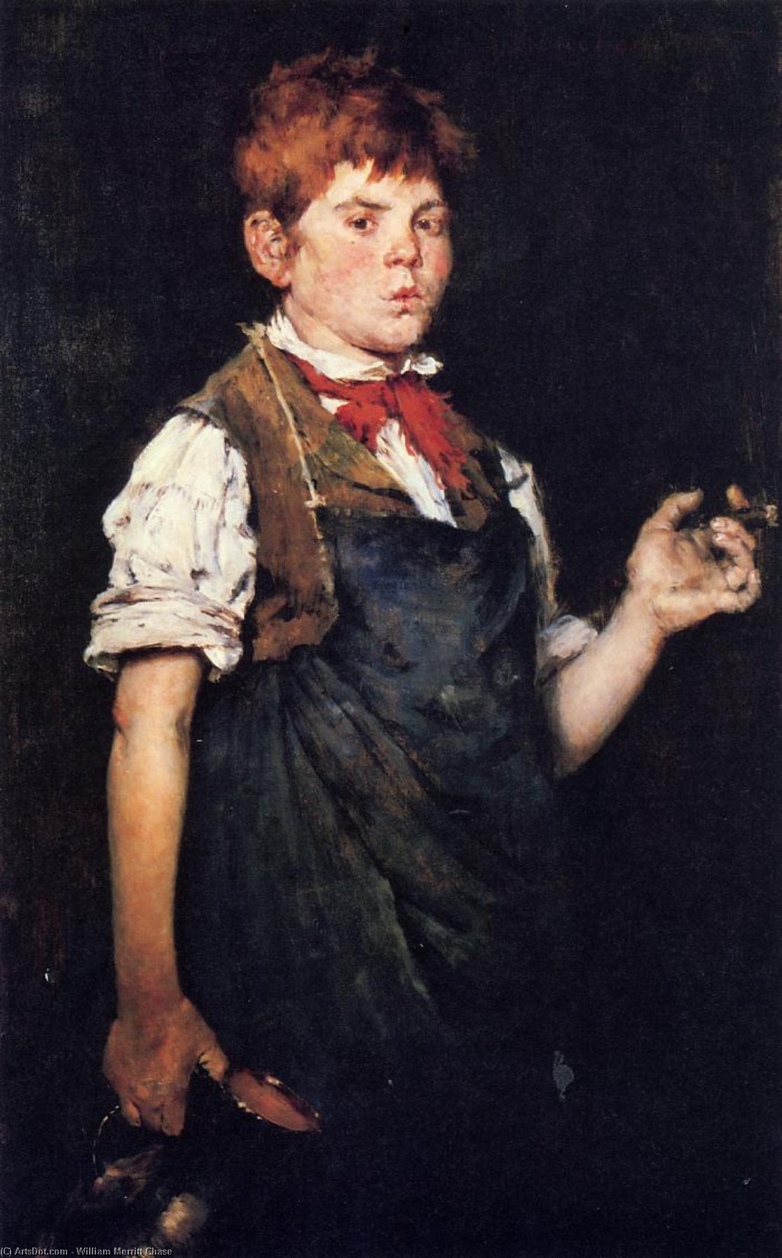 The Apprentice, aka Boy Smoking, Oil On Canvas by William Merritt Chase (1849-1916, United States)