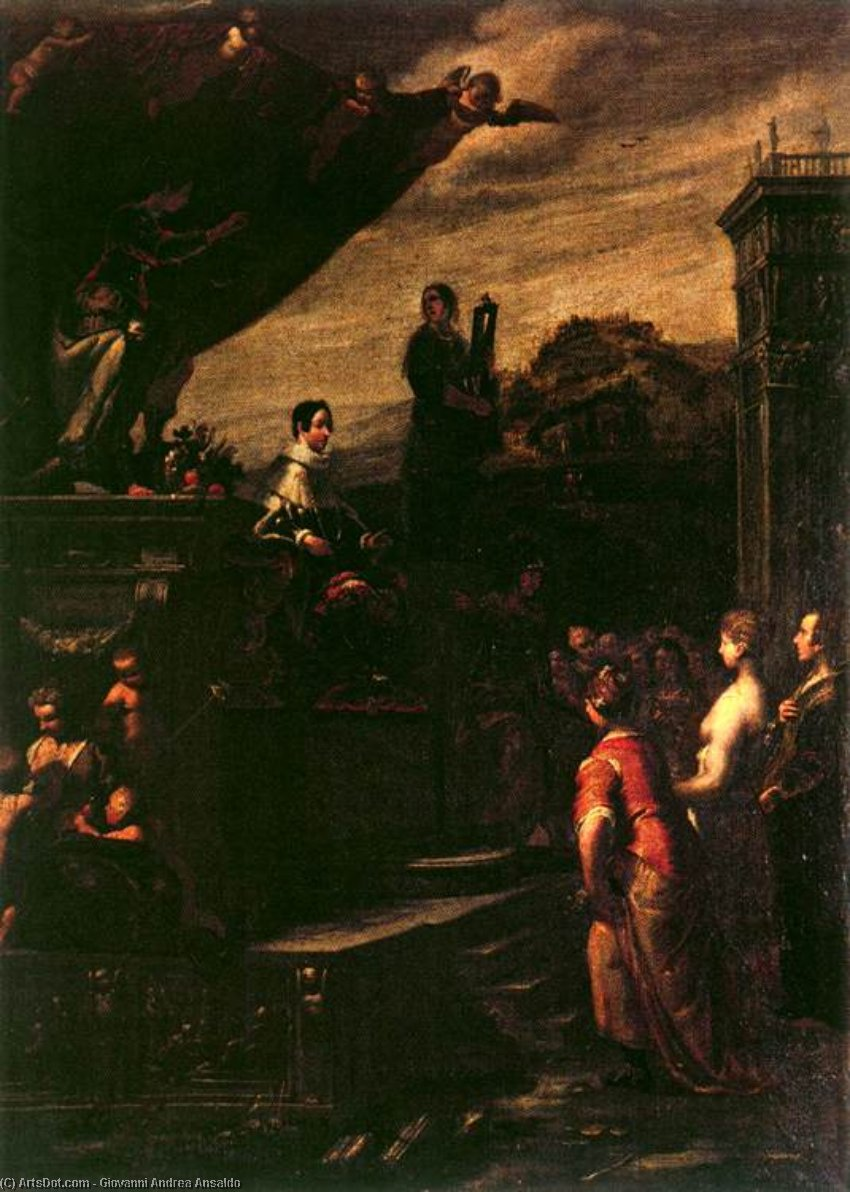 Allegory of the Crowning of Ferdinando II de' Medici, Oil On Canvas by Giovanni Andrea Ansaldo (1584-1638, Italy)