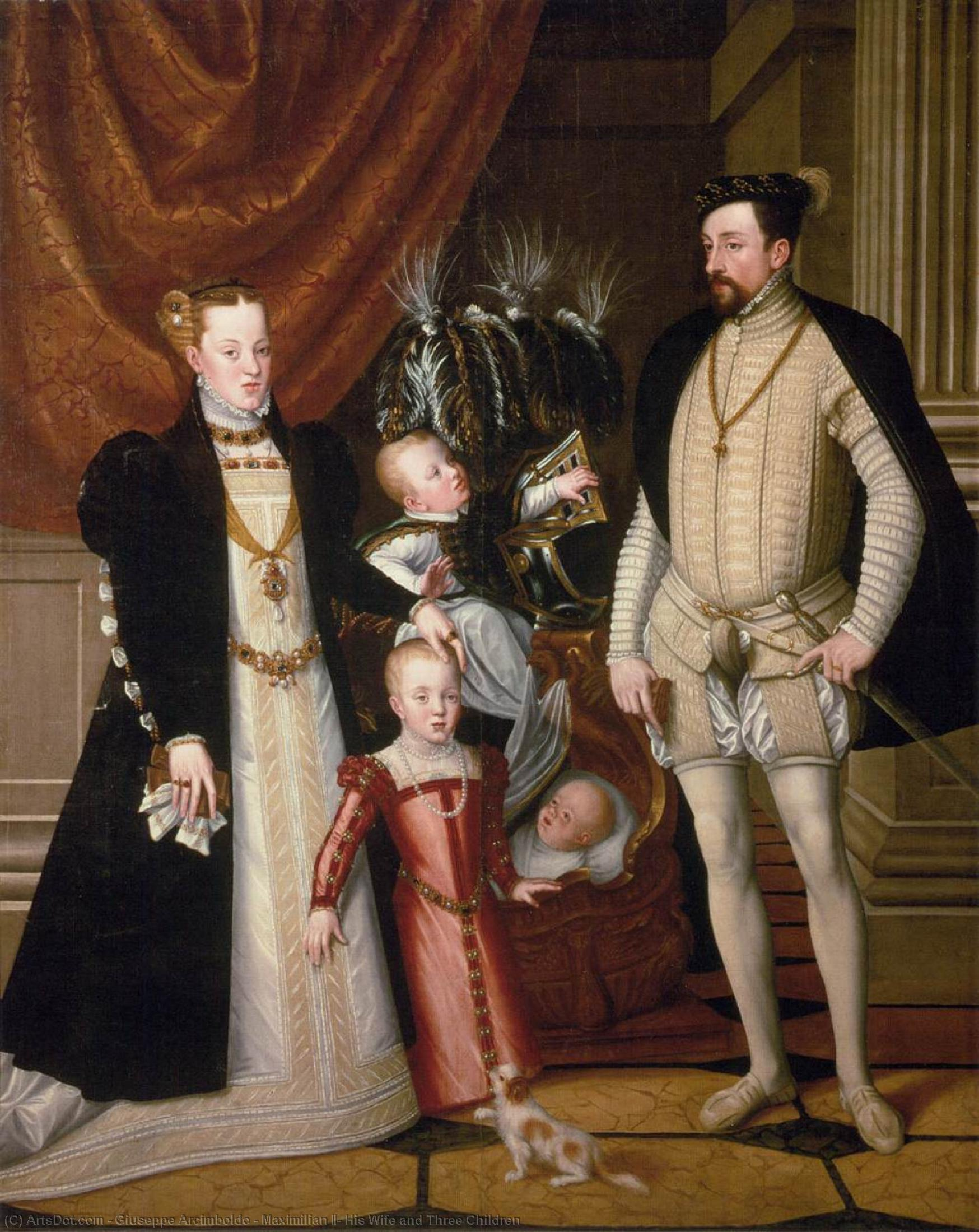 Maximilian II, His Wife and Three Children, 1563 by Giuseppe Arcimboldo (1527-1593, Italy) | Museum Quality Reproductions | ArtsDot.com