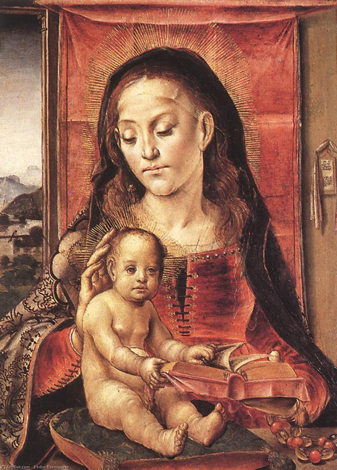 Virgin and Child, Panel by Pedro Berruguete (1450-1504, Spain)