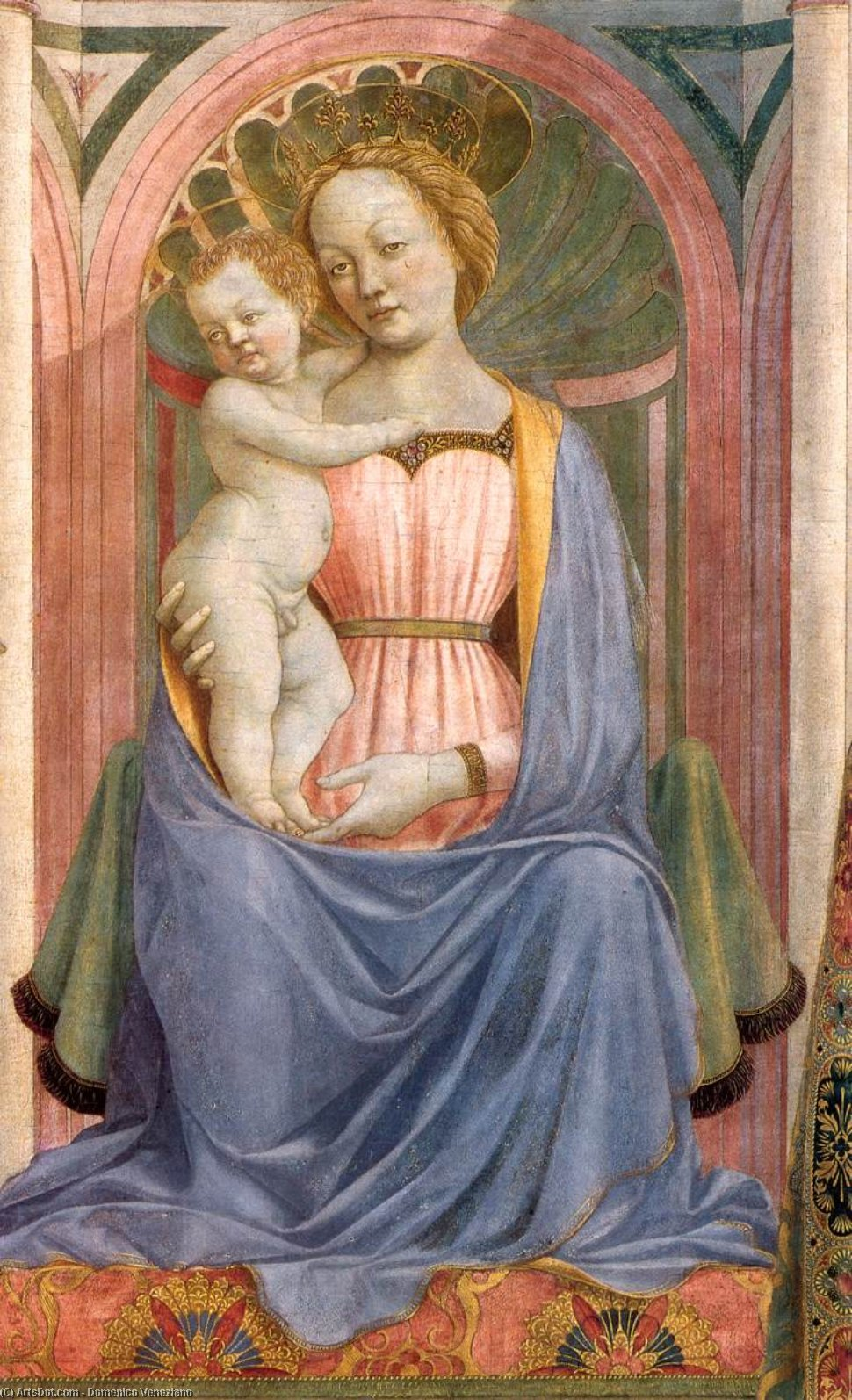 The Madonna and Child with Saints (detail), Tempera by Domenico Veneziano (1410-1461, Italy)