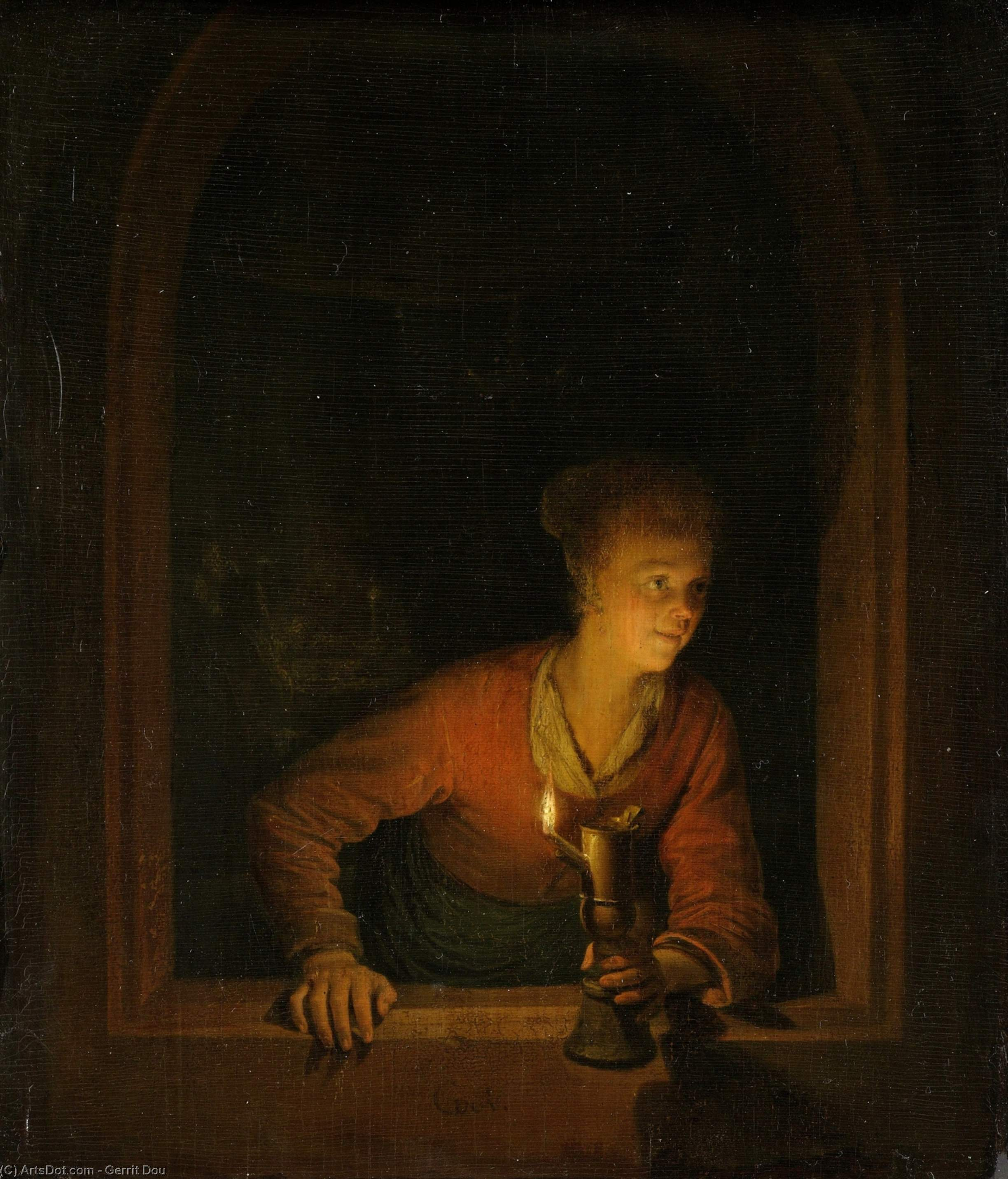 Girl with Burning Oil Lamp, Oil On Panel by Gerrit Dou