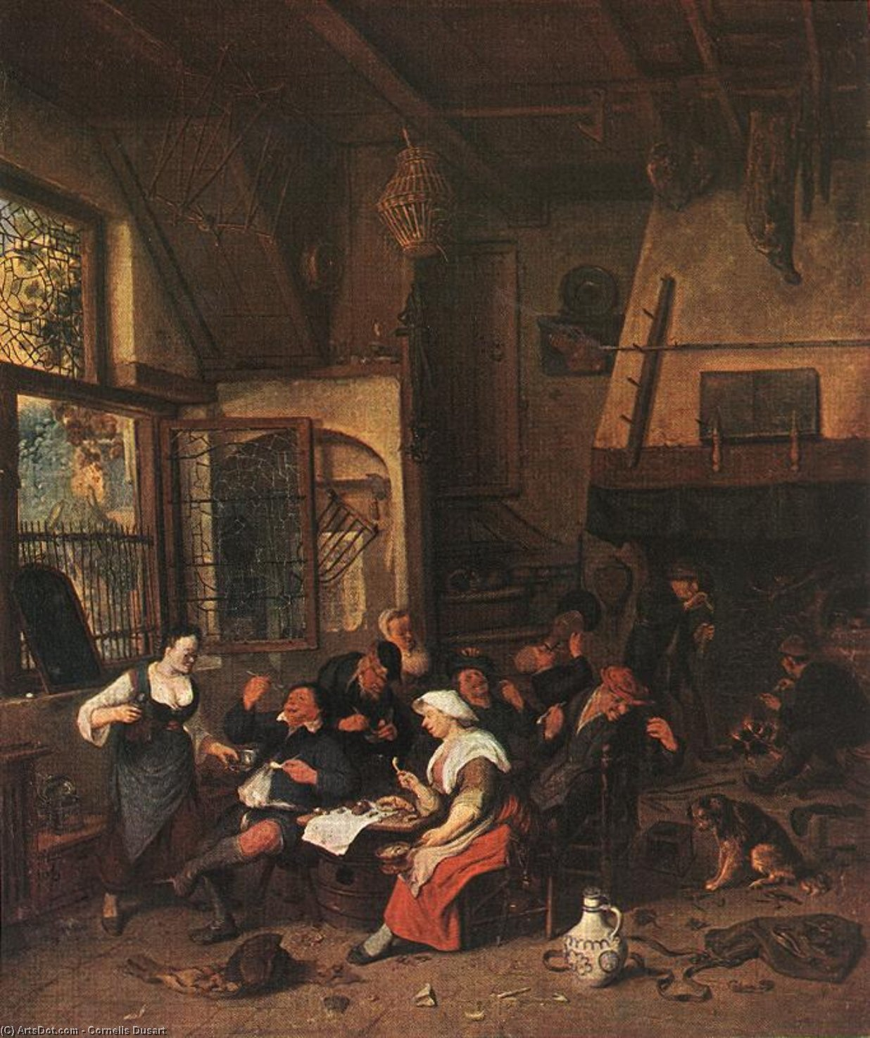Tavern Scene, Oil On Canvas by Cornelis Dusart (1660-1704, Netherlands)