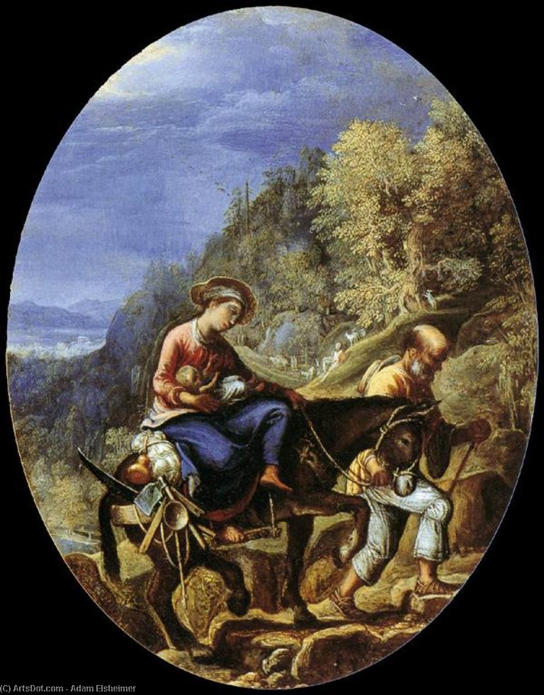 The Flight into Egypt, 1605 by Adam Elsheimer (1578-1610, Germany) | Museum Art Reproductions | ArtsDot.com