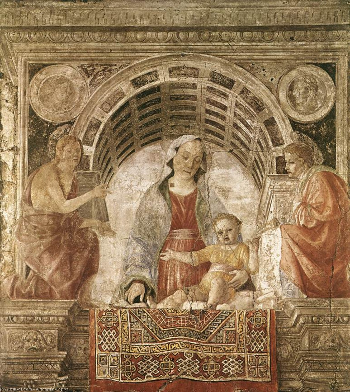 Madonna and Child with St John the Baptist and St John the Evangelist, Frescoes by Vincenzo Foppa  (order Fine Art Print on canvas Vincenzo Foppa)