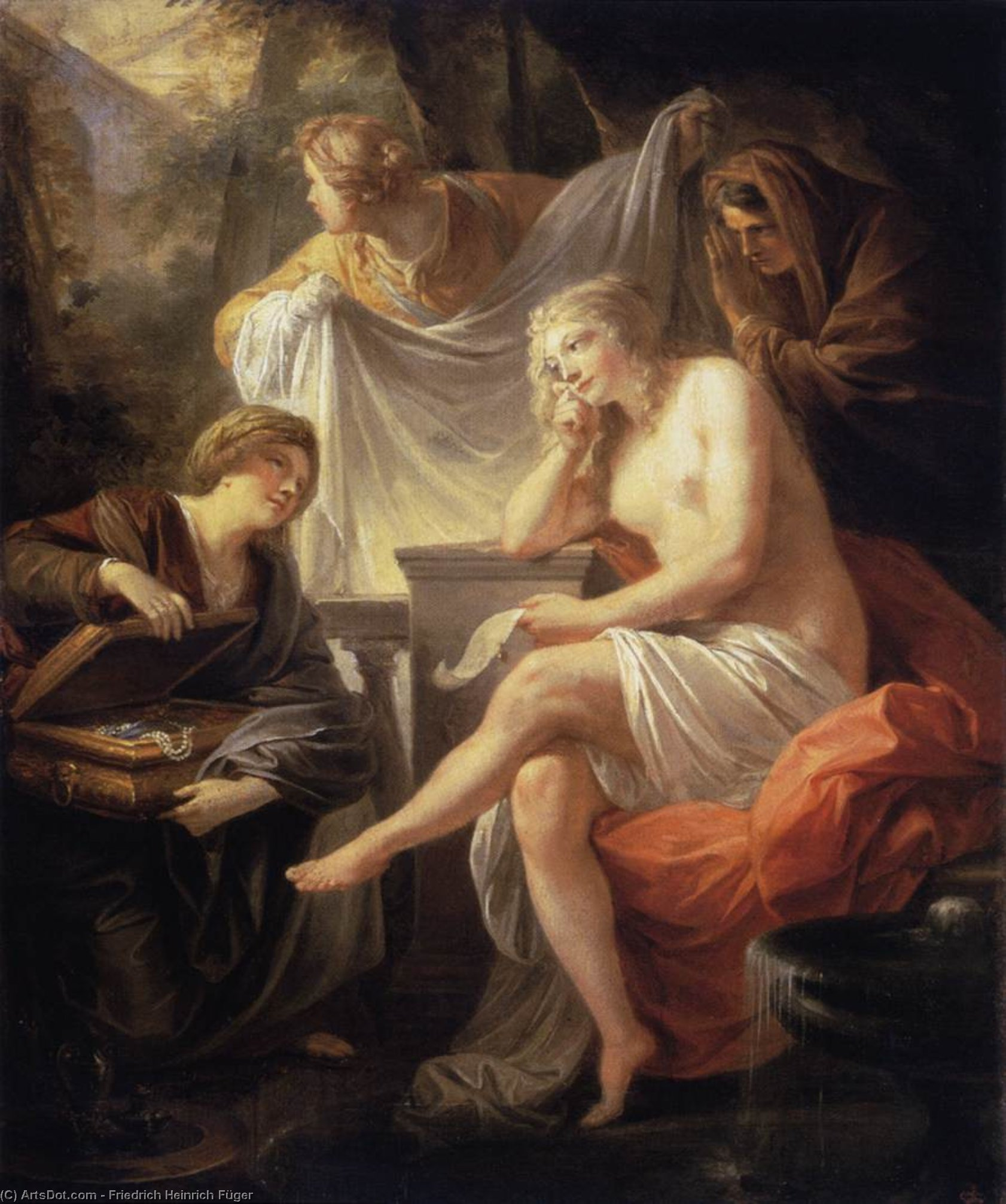 Bathsheba at the Bath, Oil On Panel by Friedrich Heinrich Füger (1751-1818, Germany)