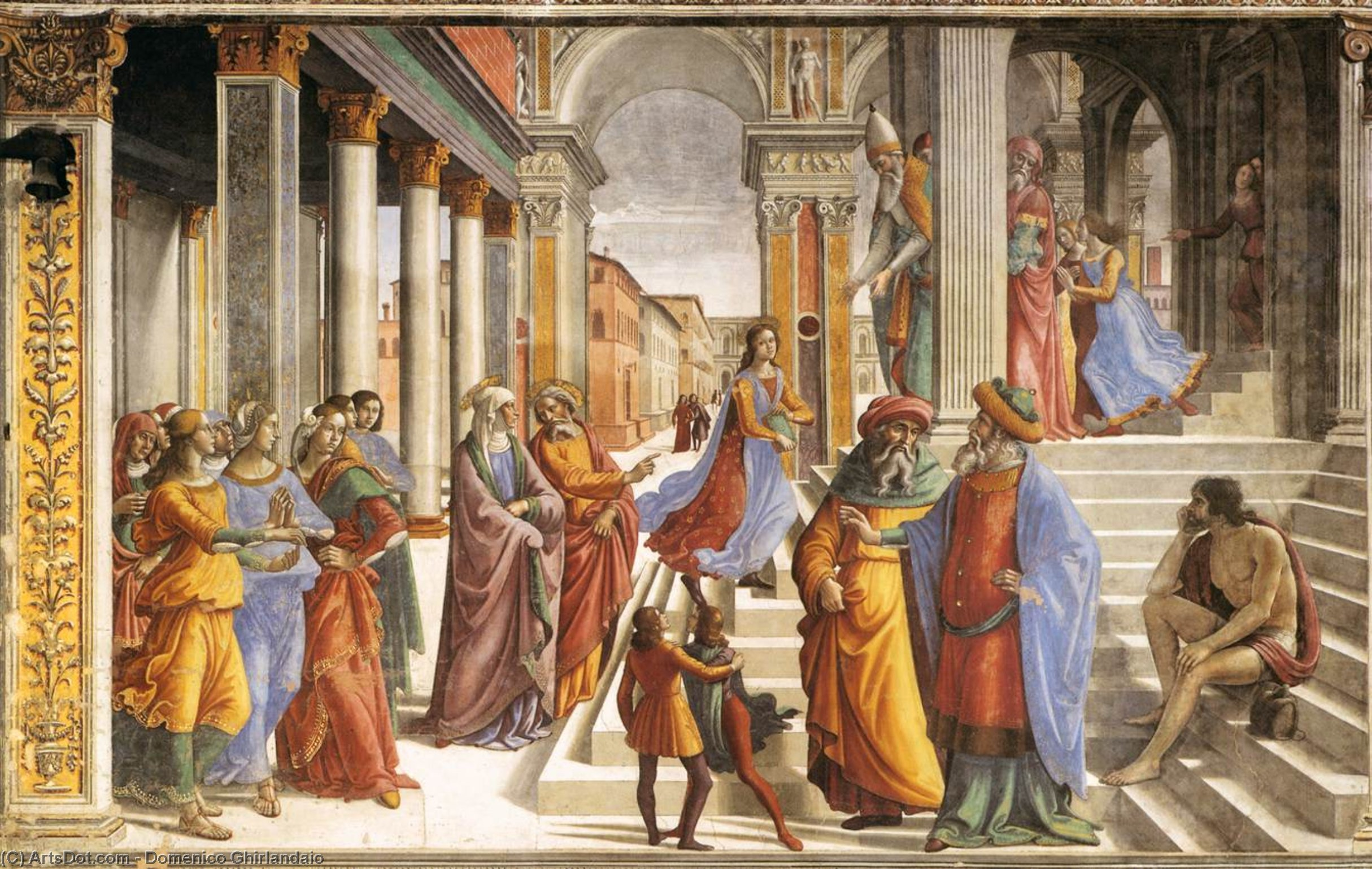 Presentation of the Virgin at the Temple, Frescoes by Domenico Ghirlandaio (1449-1494, Italy)