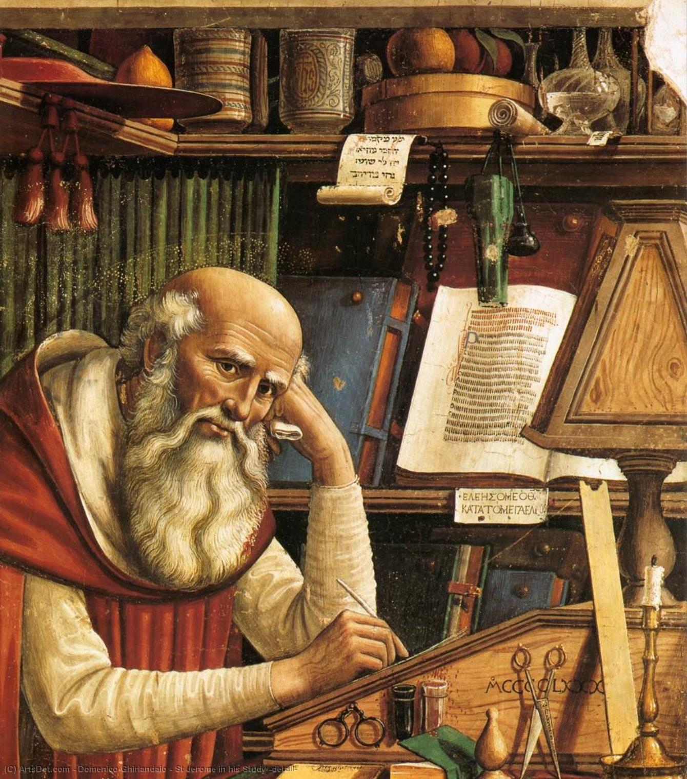 St Jerome in his Study (detail), 1480 by Domenico Ghirlandaio (1449-1494, Italy) | Art Reproduction | ArtsDot.com