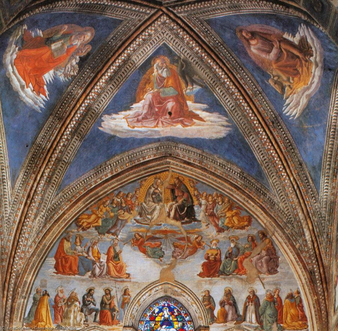 View of the Tornabuoni Chapel (detail), Frescoes by Domenico Ghirlandaio (1449-1494, Italy)