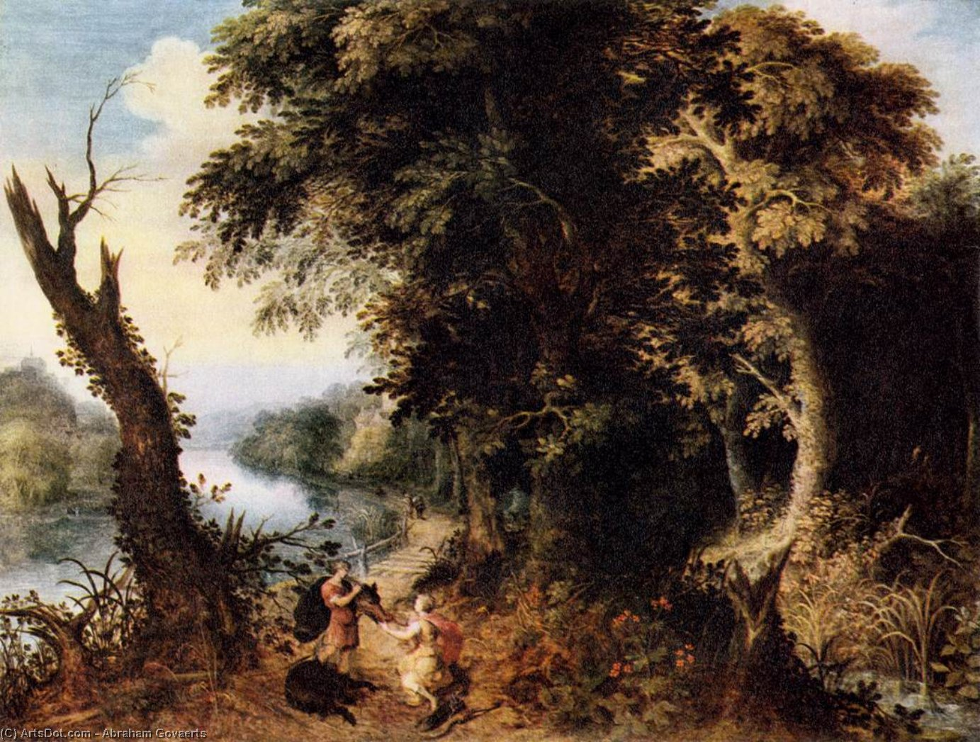 Landscape with Diana Receiving the Head of a Boar, Oil On Panel by Abraham Govaerts (1589-1626, Belgium)