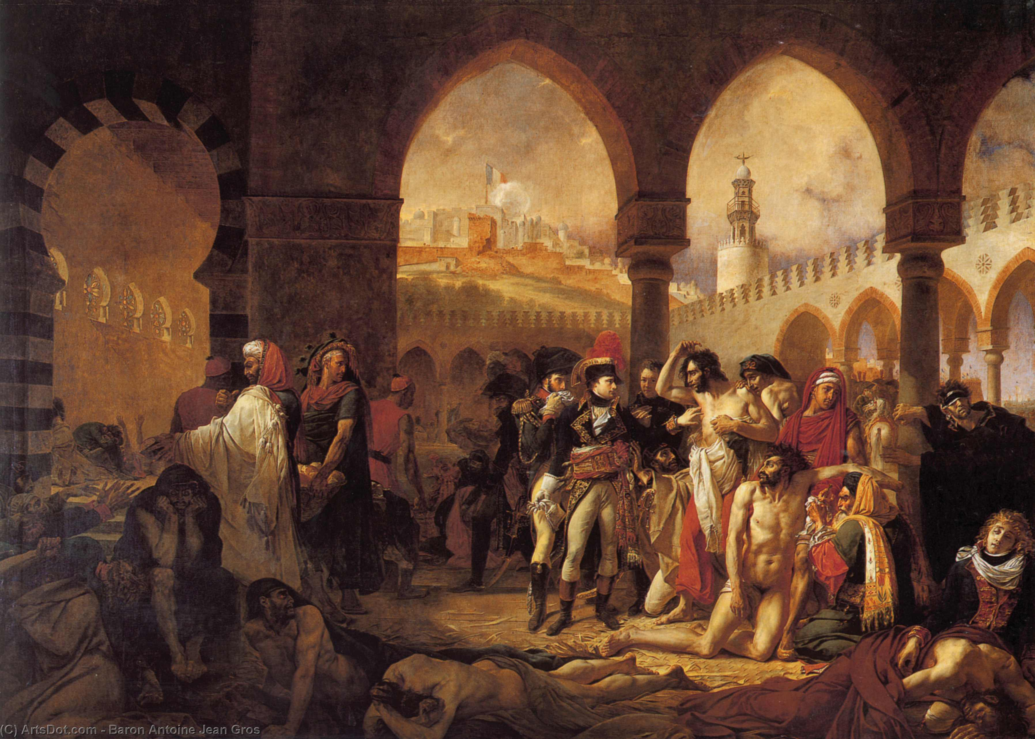 Napoleon Bonaparte Visiting the Plague-stricken at Jaffa, Oil On Canvas by Baron Antoine Jean Gros (1771-1835, France)